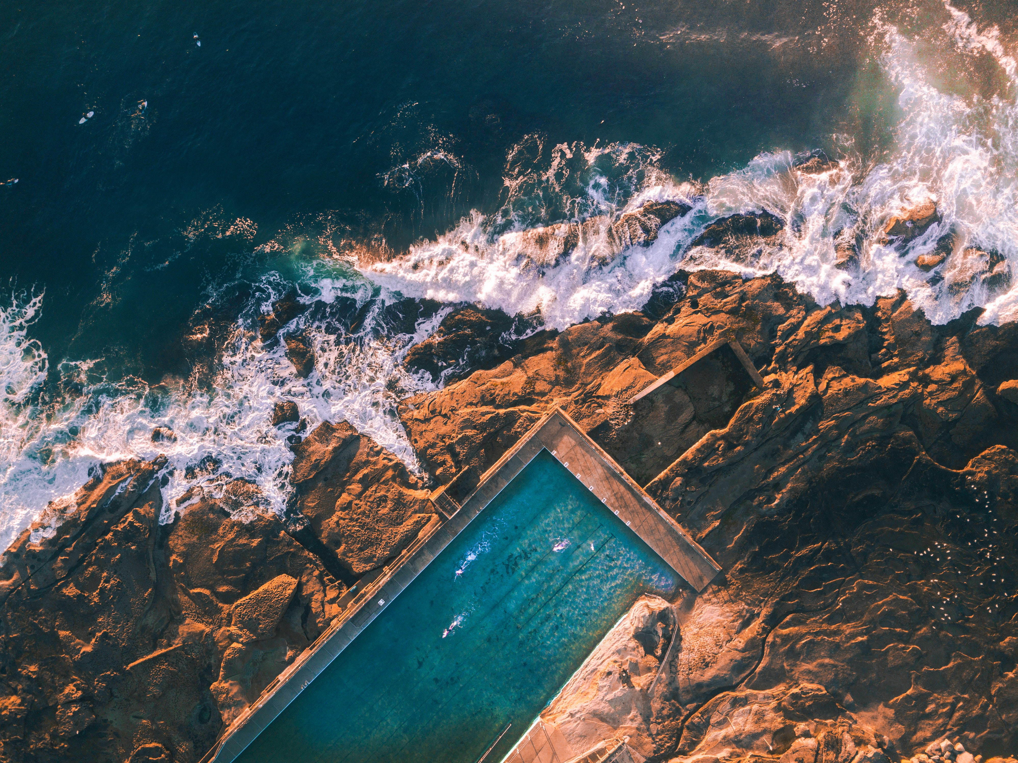 General 3992x2992 nature water rock aerial view landscape sea swimming pool