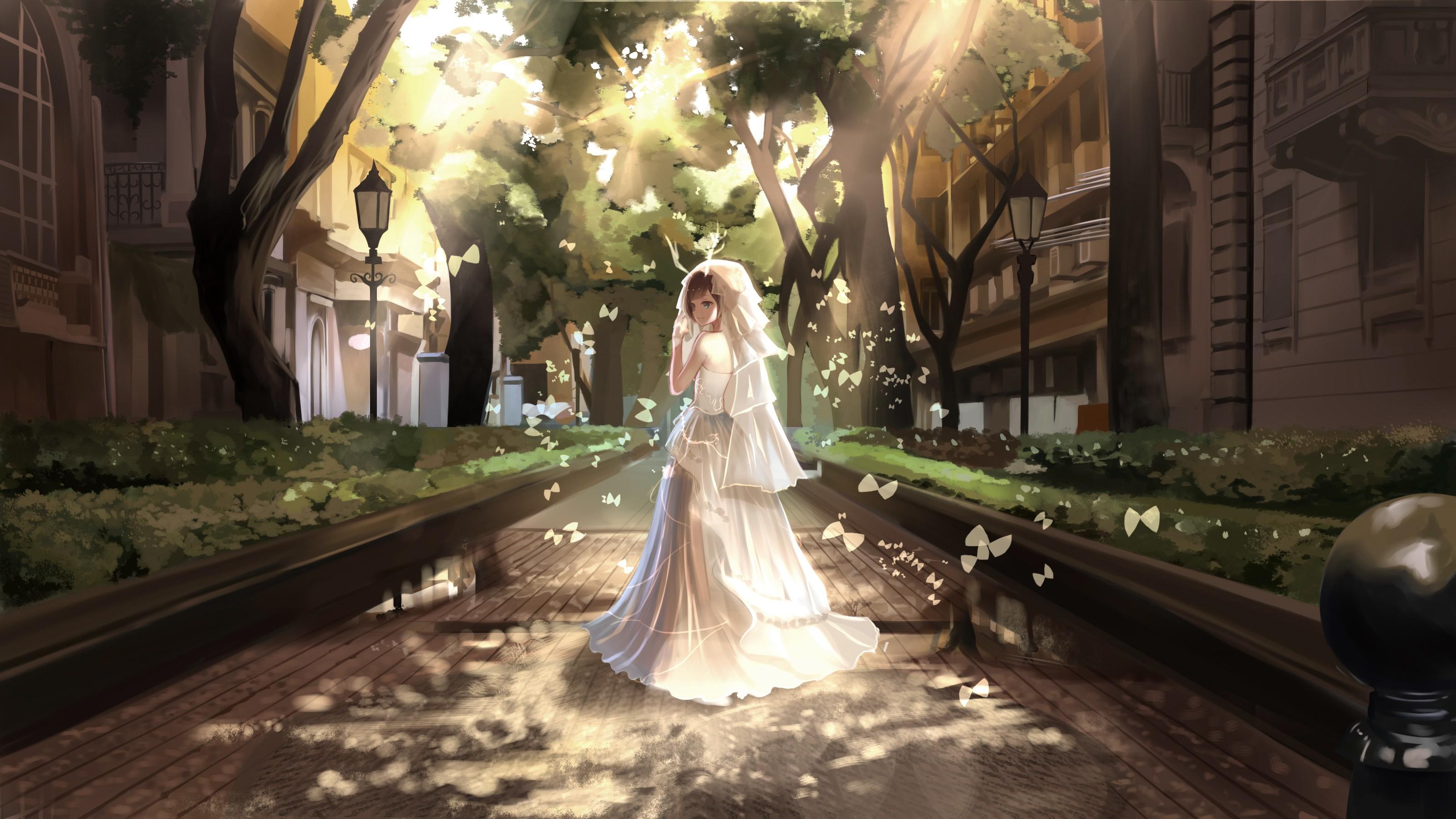 Anime 3199x1799 original characters short hair brunette blue eyes wedding dress white gloves butterfly street trees looking back smiling anime girls anime