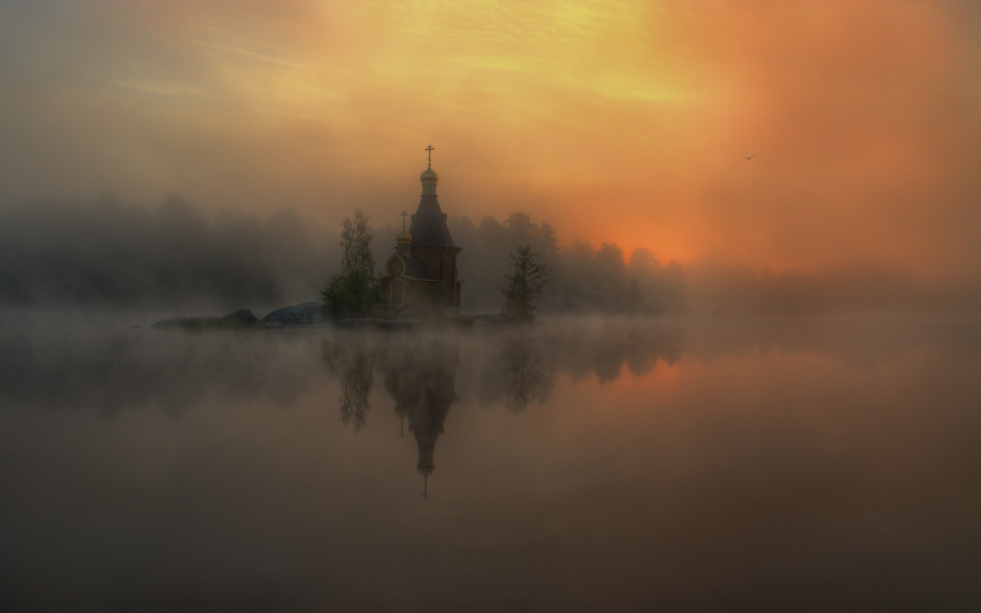 General 1920x1200 landscape nature mist river church reflection sunlight Russia chapel lake morning island without people