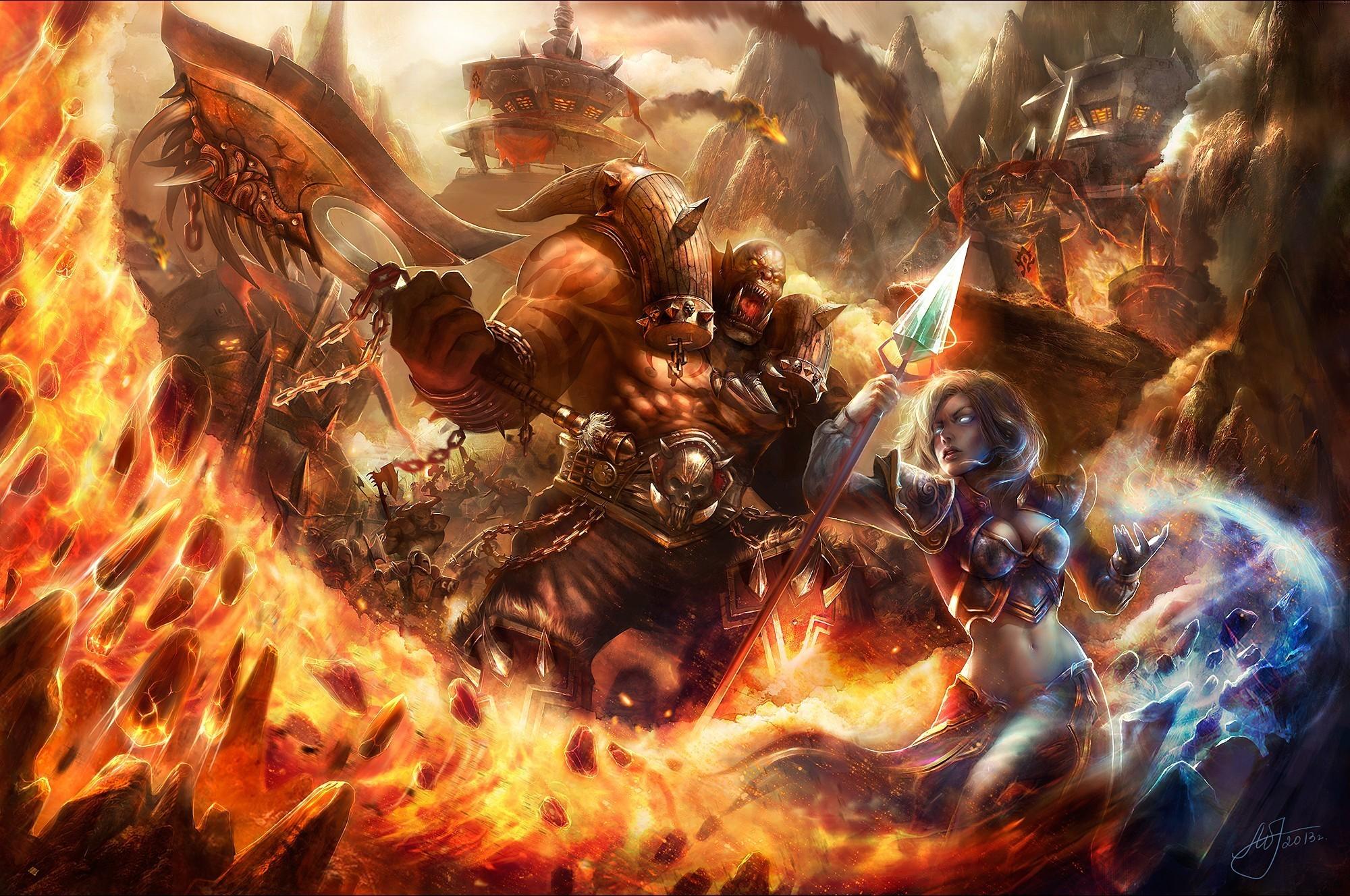 General 2000x1328 video games artwork World of Warcraft Jaina Proudmoore Garrosh Helscream
