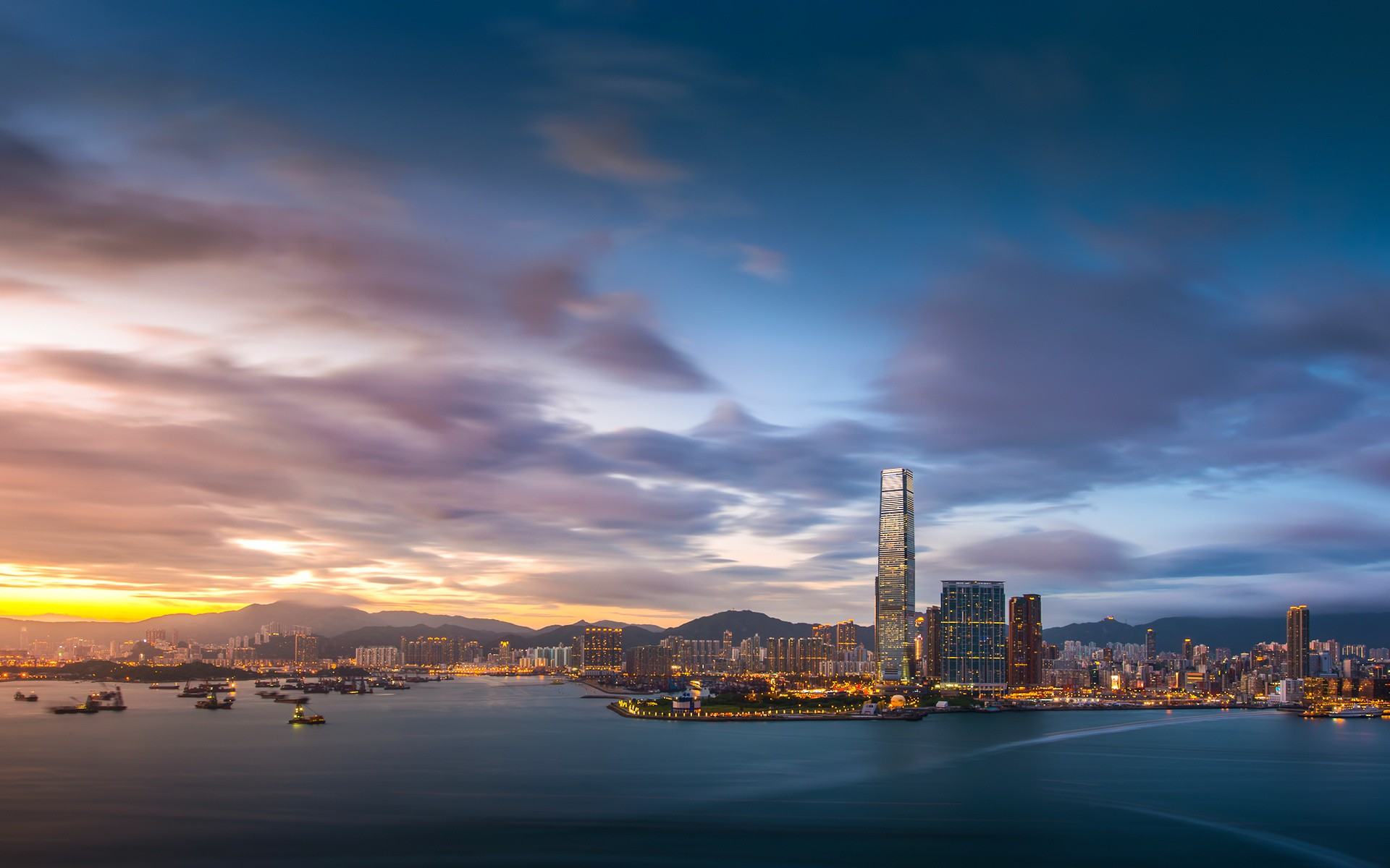 General 1920x1200 architecture building skyscraper city cityscape urban clouds Hong Kong China water sea ship evening sunset harbor long exposure hills lights