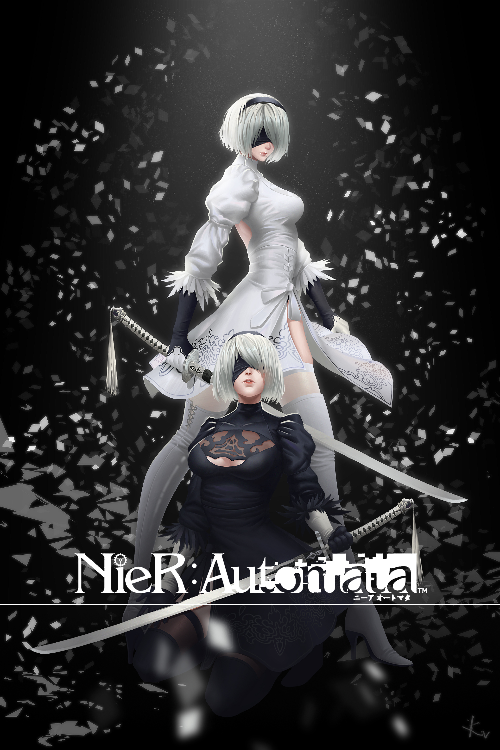 Anime 2079x3121 dress heels cleavage NieR Nier: Automata sword thigh-highs 2B (Nier: Automata)