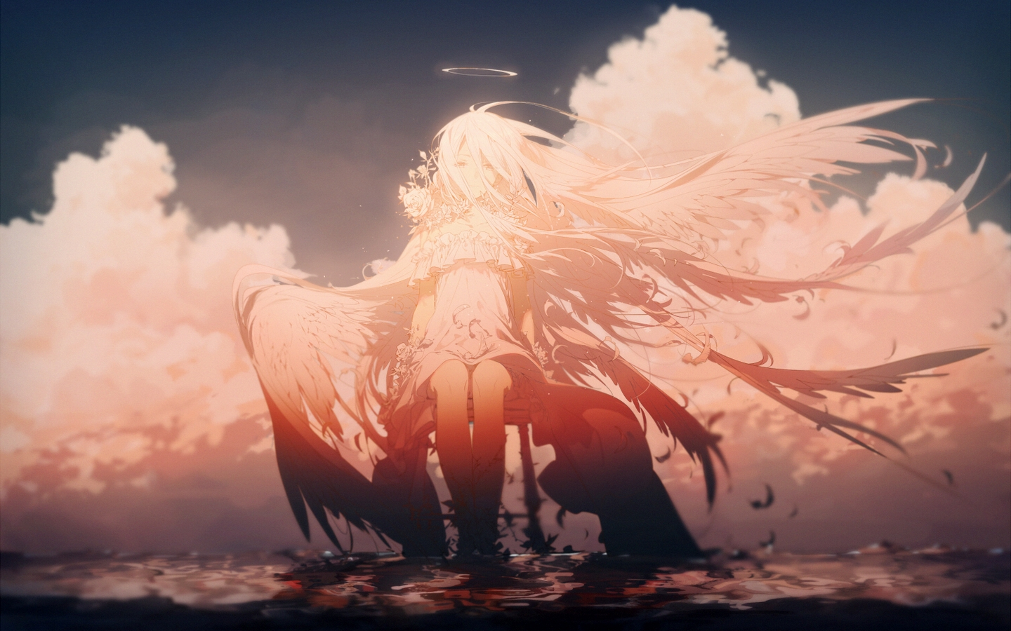 Anime 1440x900 wings angel clouds