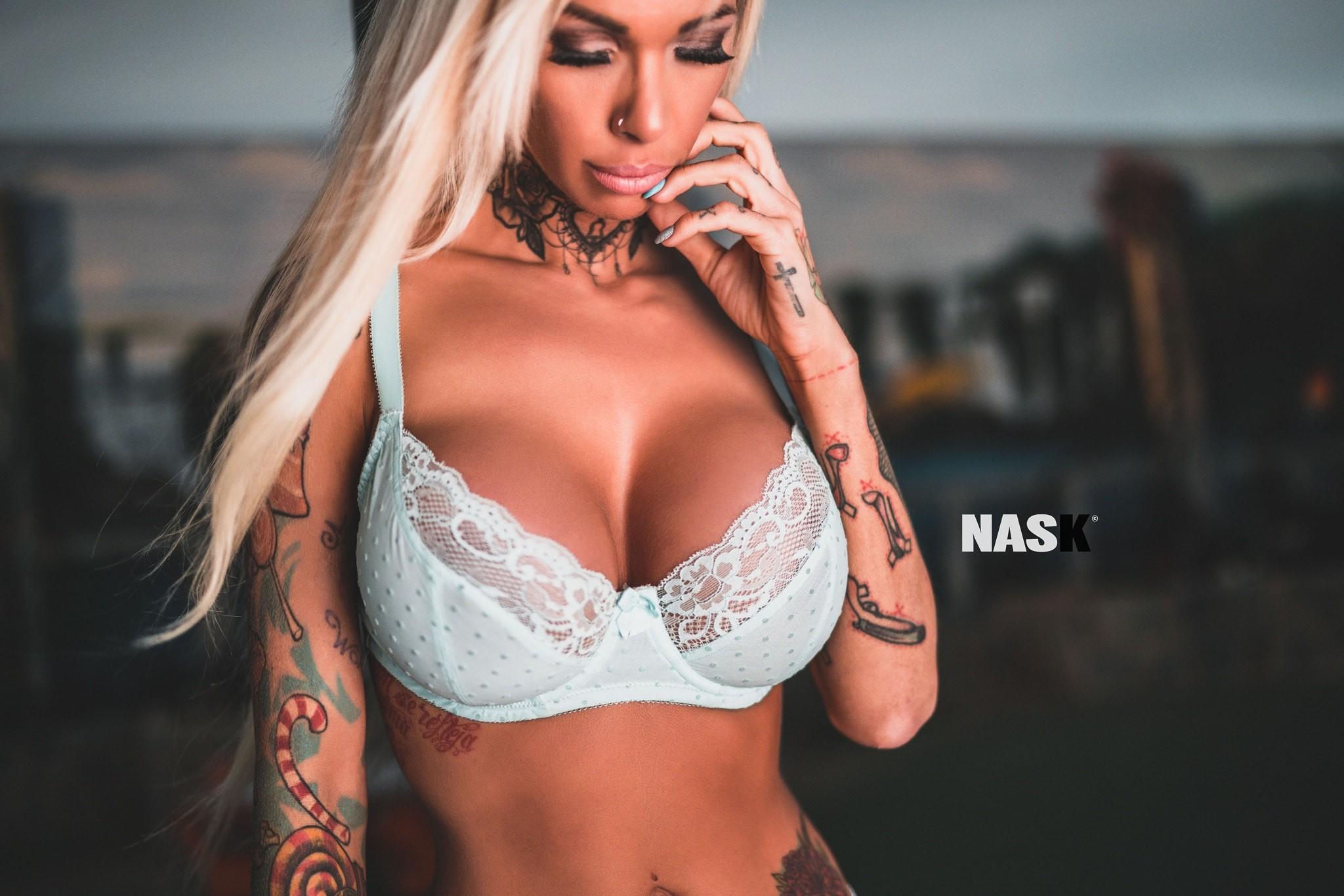 People 2048x1366 women blonde white bra tanned Nask Nach tattoo nose rings closed eyes depth of field Chloe Gimenez