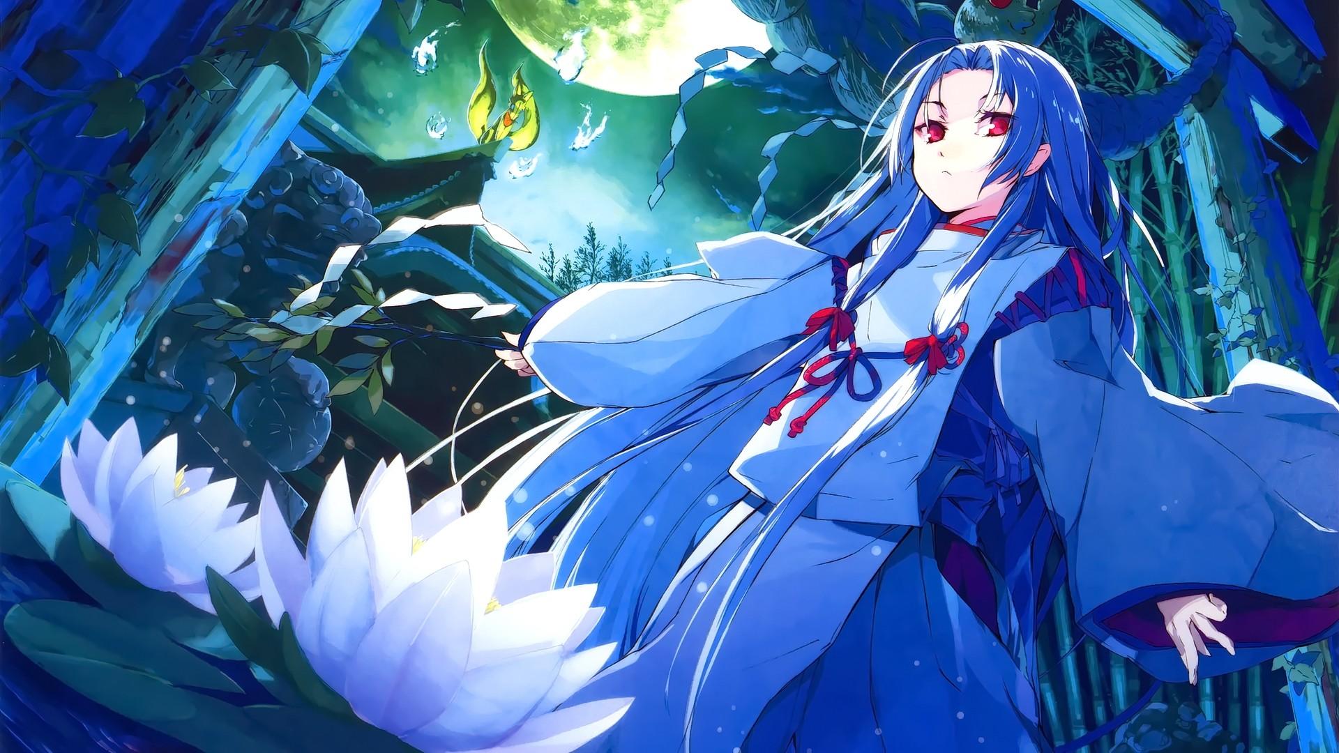 Anime 1920x1080 anime anime girls original characters lotus flowers red eyes shrine miko