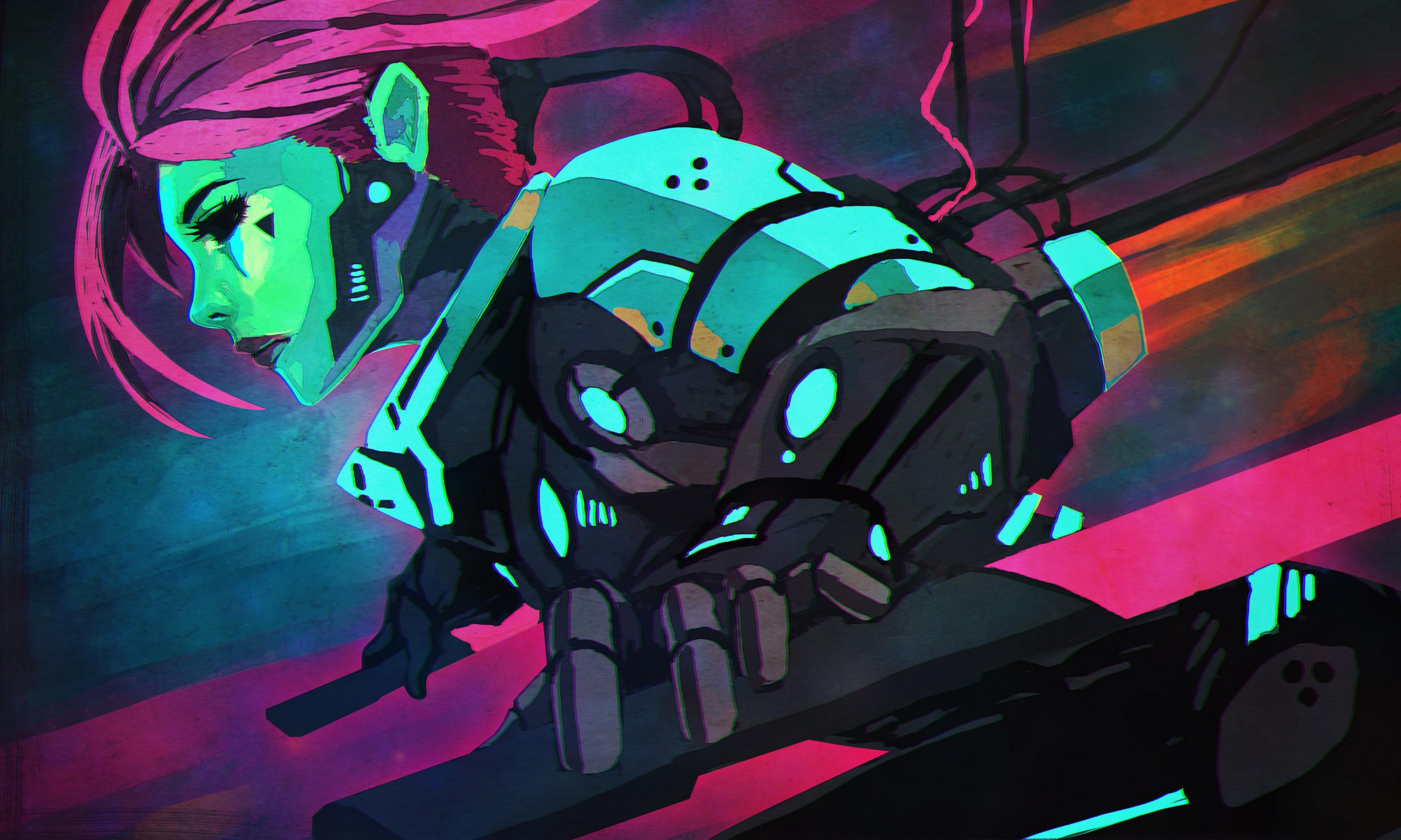 General 3200x1920 illustration women cyberpunk artwork futuristic pink turquoise green cyborg