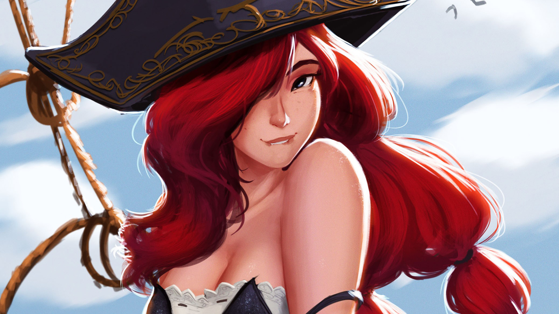 General 1920x1080 video games women cleavage big boobs redhead digital art artwork League of Legends Miss Fortune pirates sensual gaze biting lip