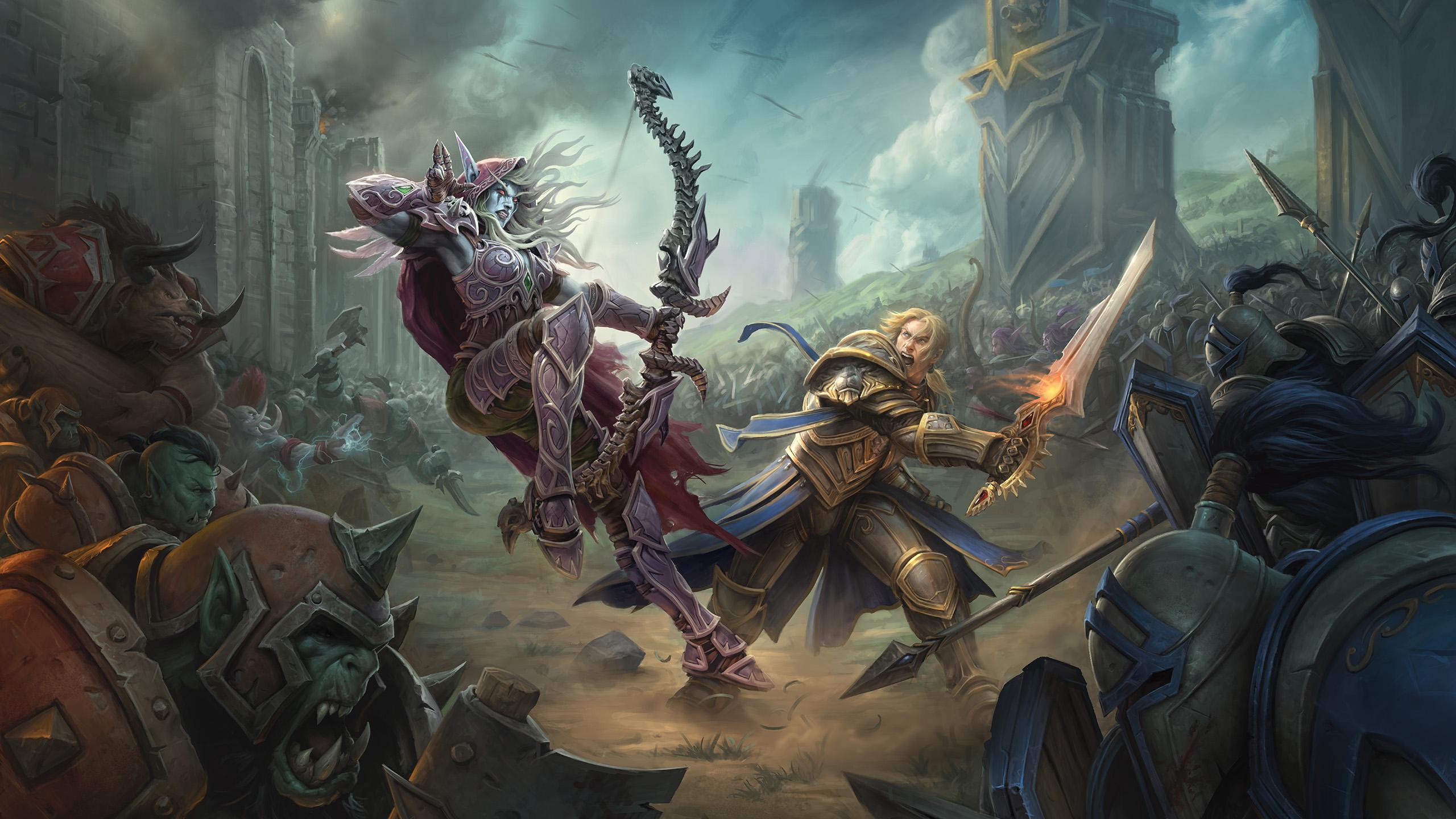 General 2560x1440 World of Warcraft: Battle for Azeroth Sylvanas Windrunner Anduin Wrynn video games World of Warcraft Alliance horde artwork fantasy art digital art archer sword orcs