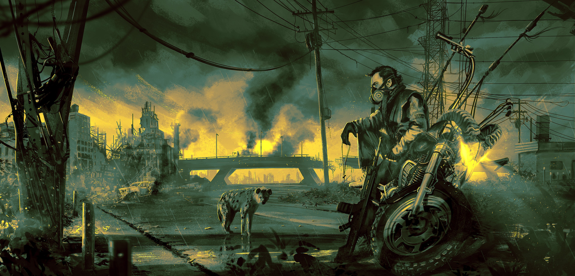 General 1920x922 apocalyptic war futuristic men motorcycle weapon hyenas city fan art digital art desolate illustration