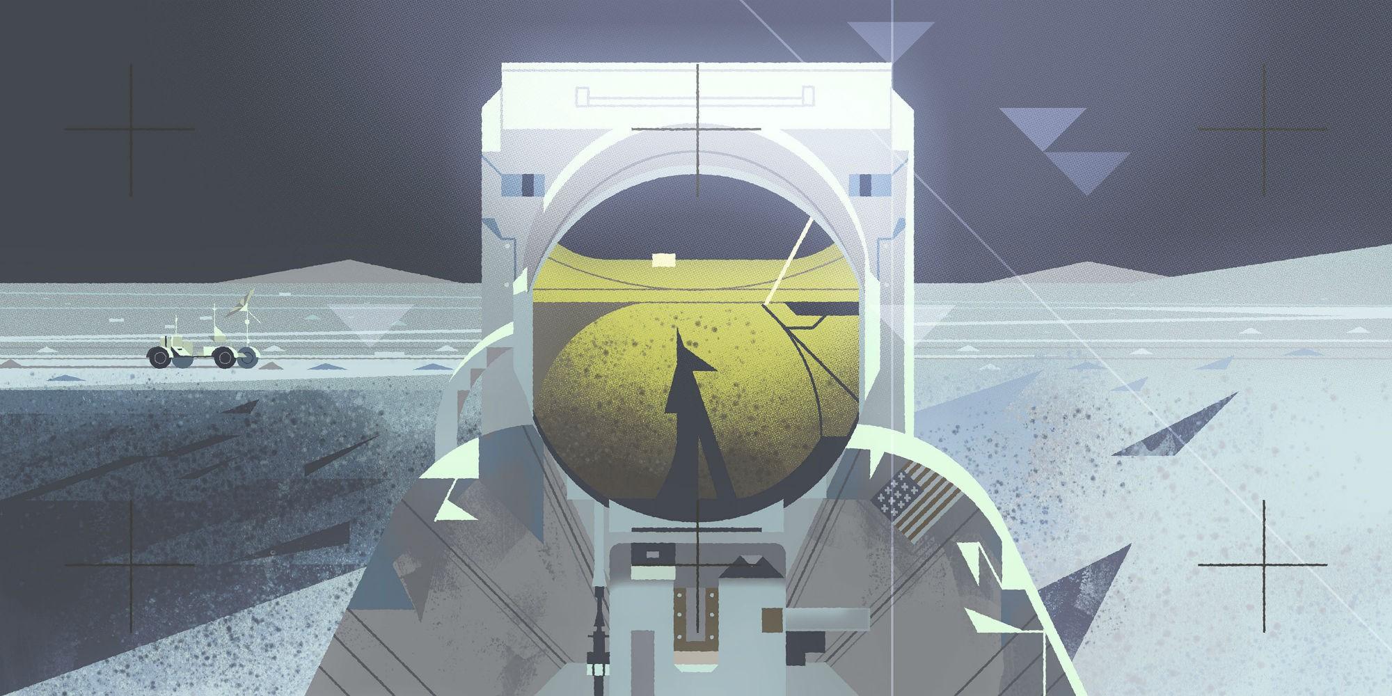 General 2000x1000 artwork astronaut Moon space spacesuit digital art