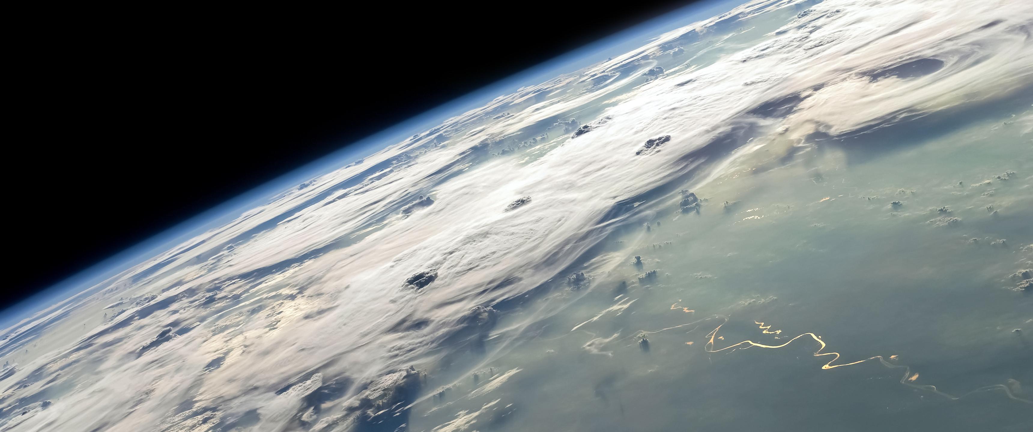 General 3440x1440 space Earth clouds space art digital art planet atmosphere