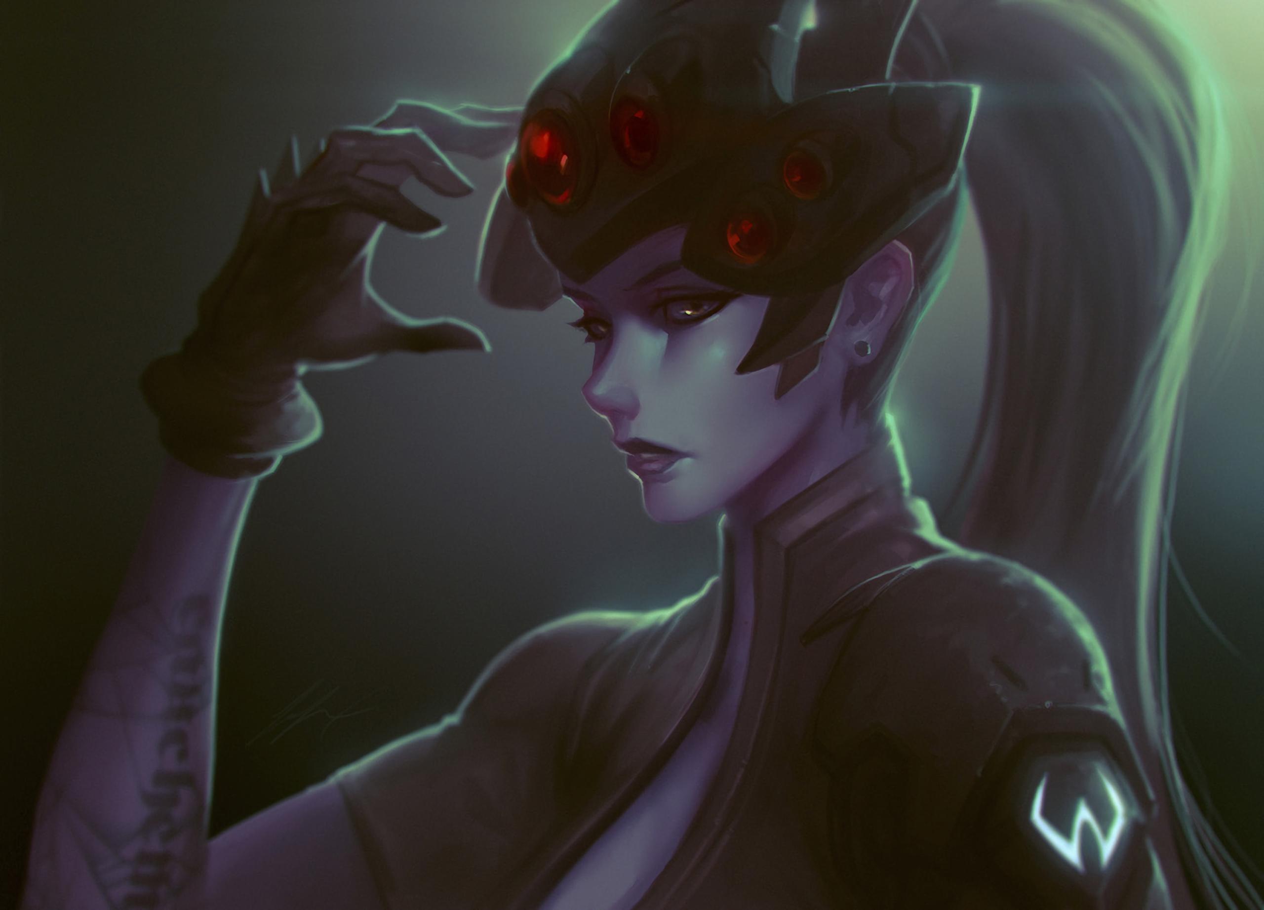 Anime 2560x1843 Overwatch Widowmaker (Overwatch) Amélie Lacroix tattoo visors long hair purple skin video games video game girls yellow eyes ponytail gloves