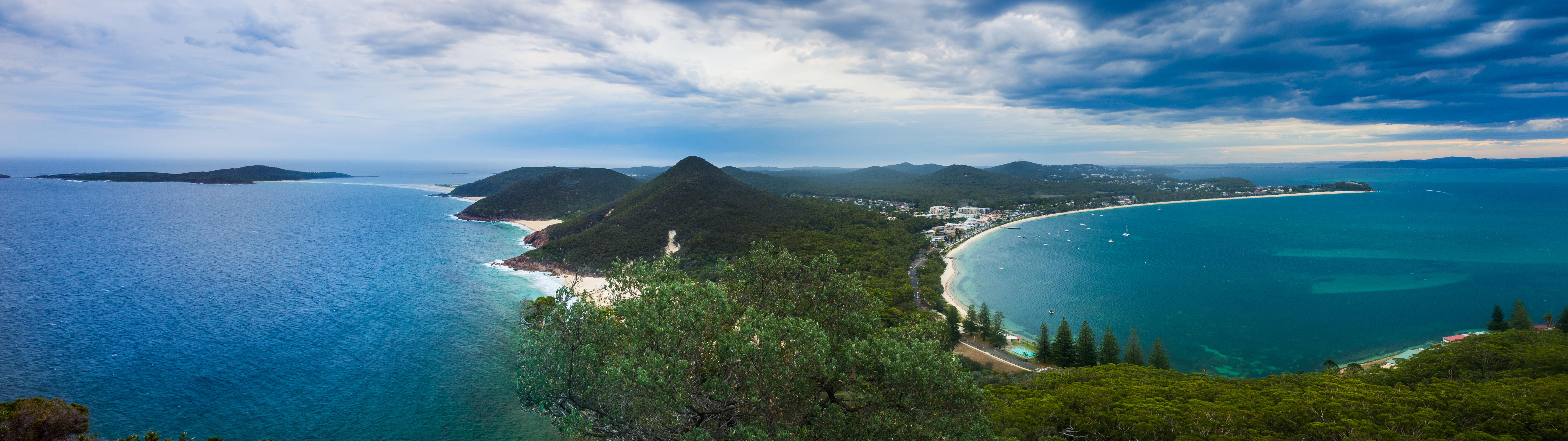 General 8430x2371 panorama landscape dual display dual monitors beach peninsula tomaree national park
