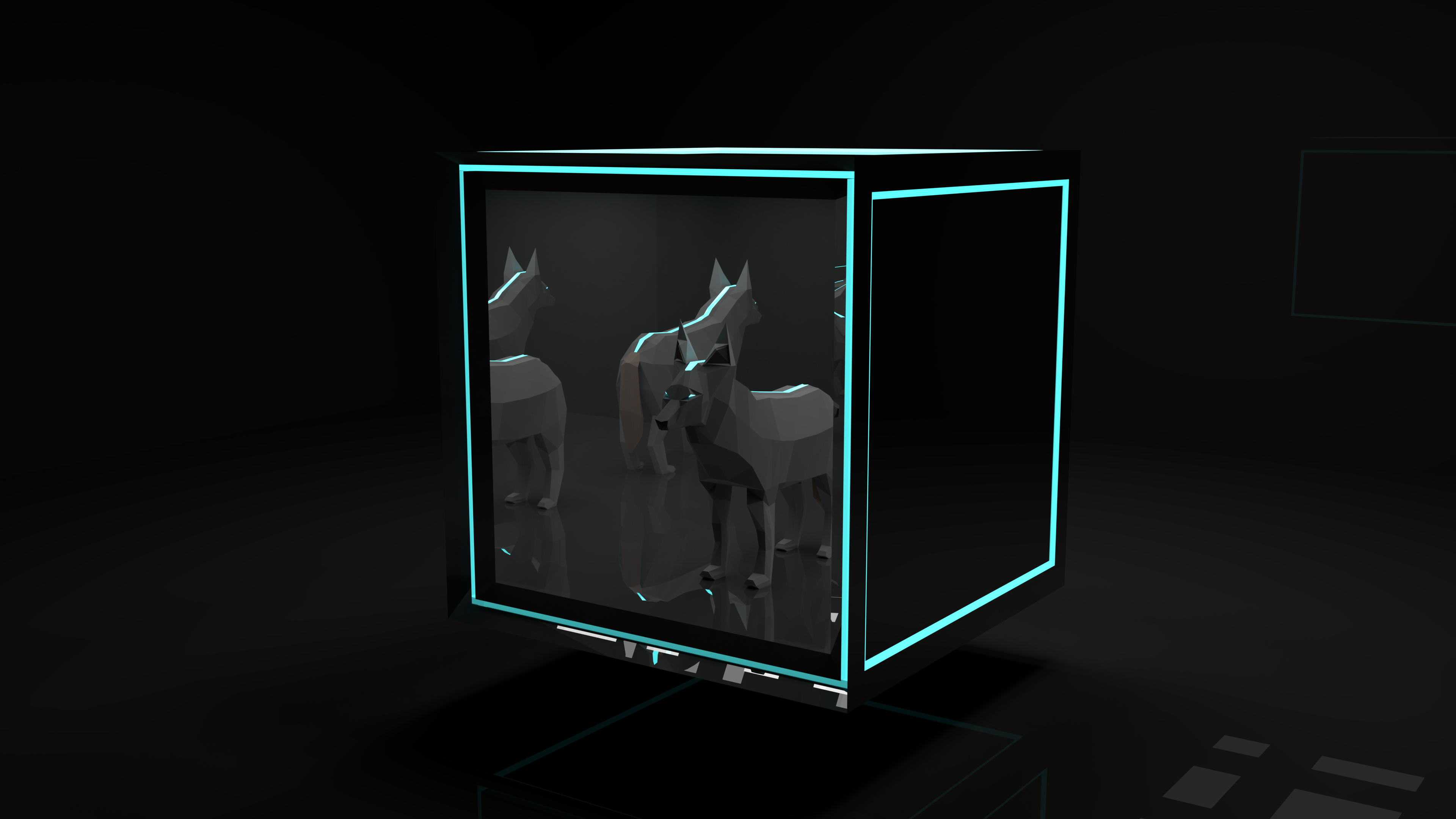 General 3840x2160 wolf Blender 3D low poly animals dog blue mirror cyan cube