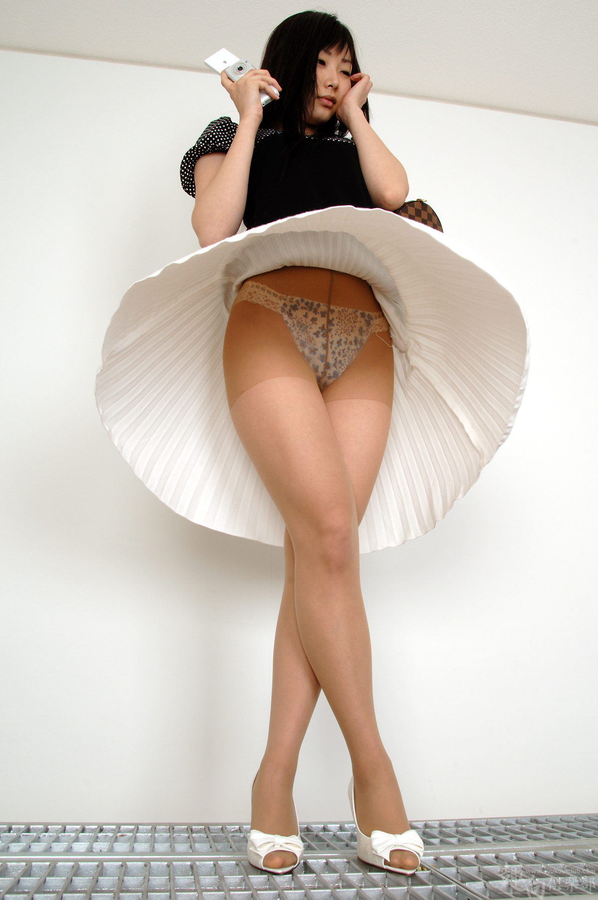 People 1200x1806 women model brunette long hair Asian portrait display Asuka Ichinose bangs legs crossed panties skirt upskirt wall pantyhose high heels black tops smartphone