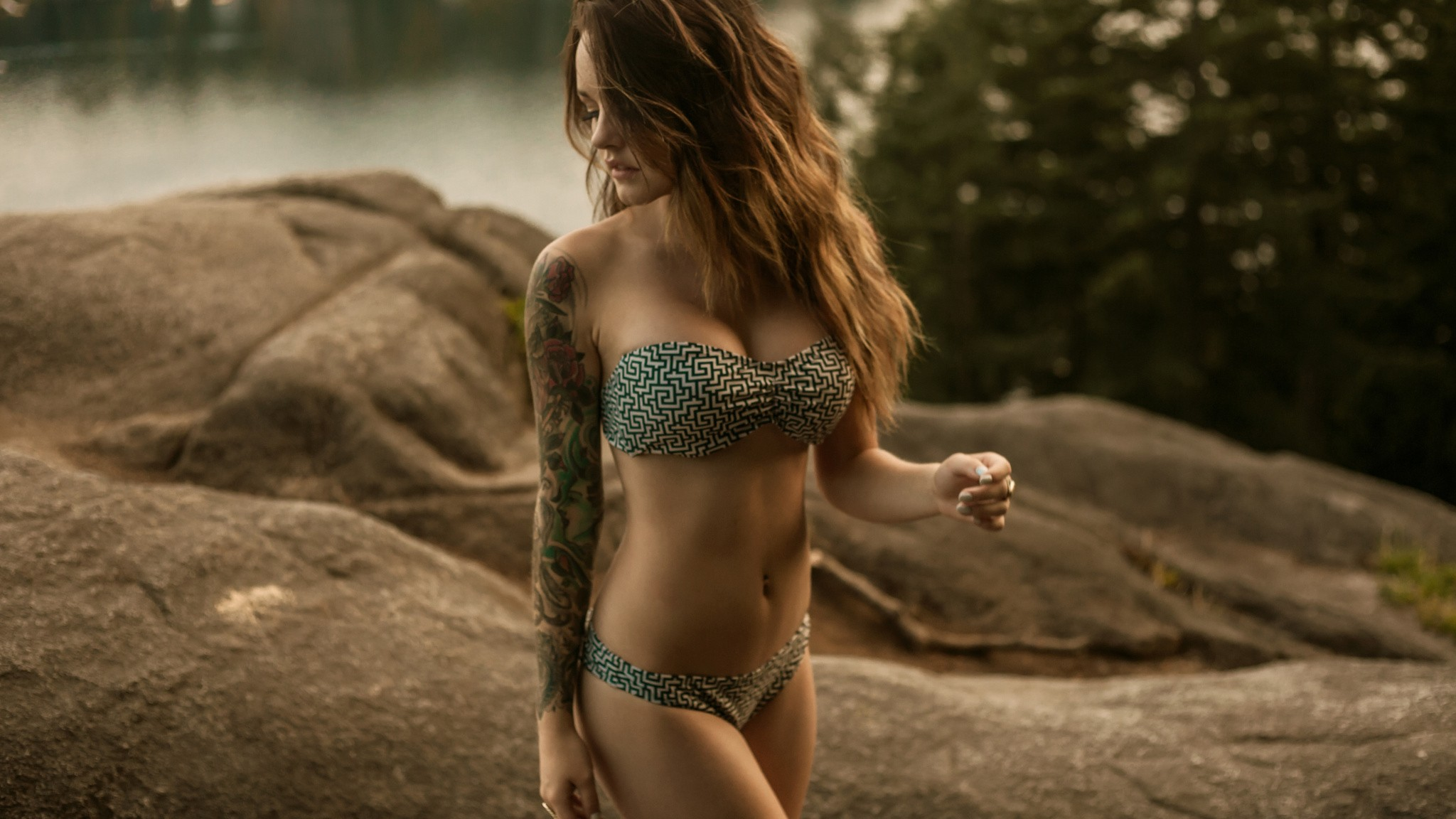 People 2048x1152 women brunette bikini tattoo bra panties rocks Jason Harynuk