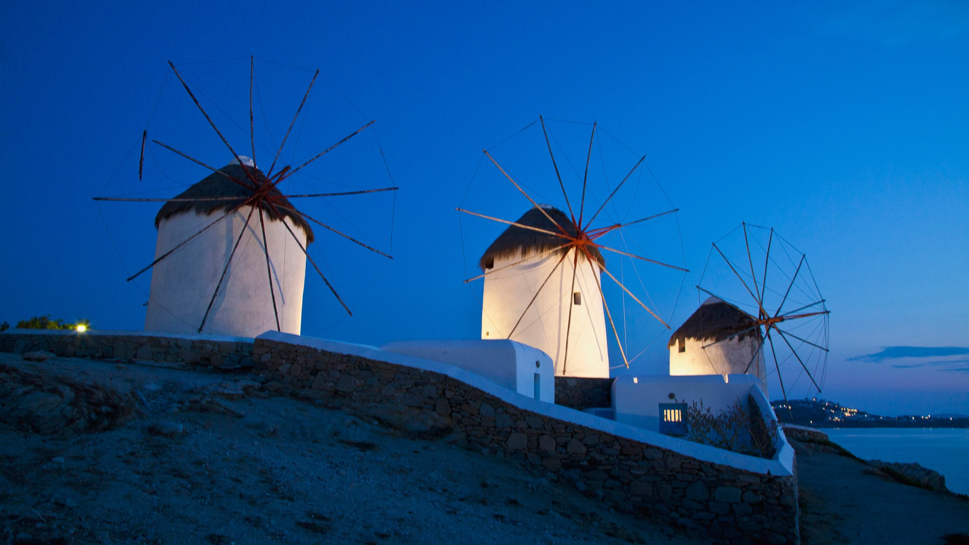 General 1920x1080 Greece mykonos island blue windmill