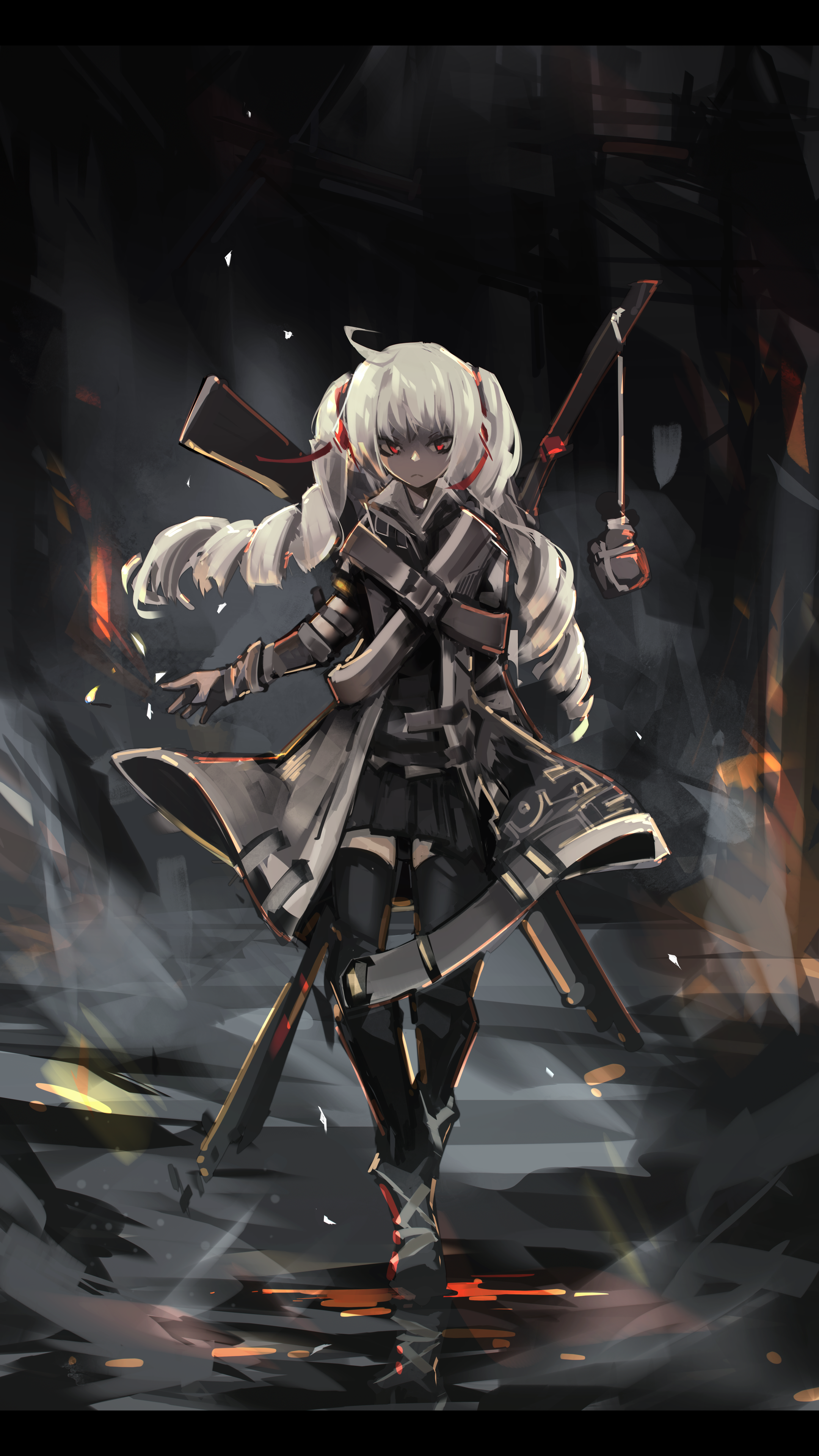 Anime 2160x3840 anime anime girls long hair white hair red eyes weapon