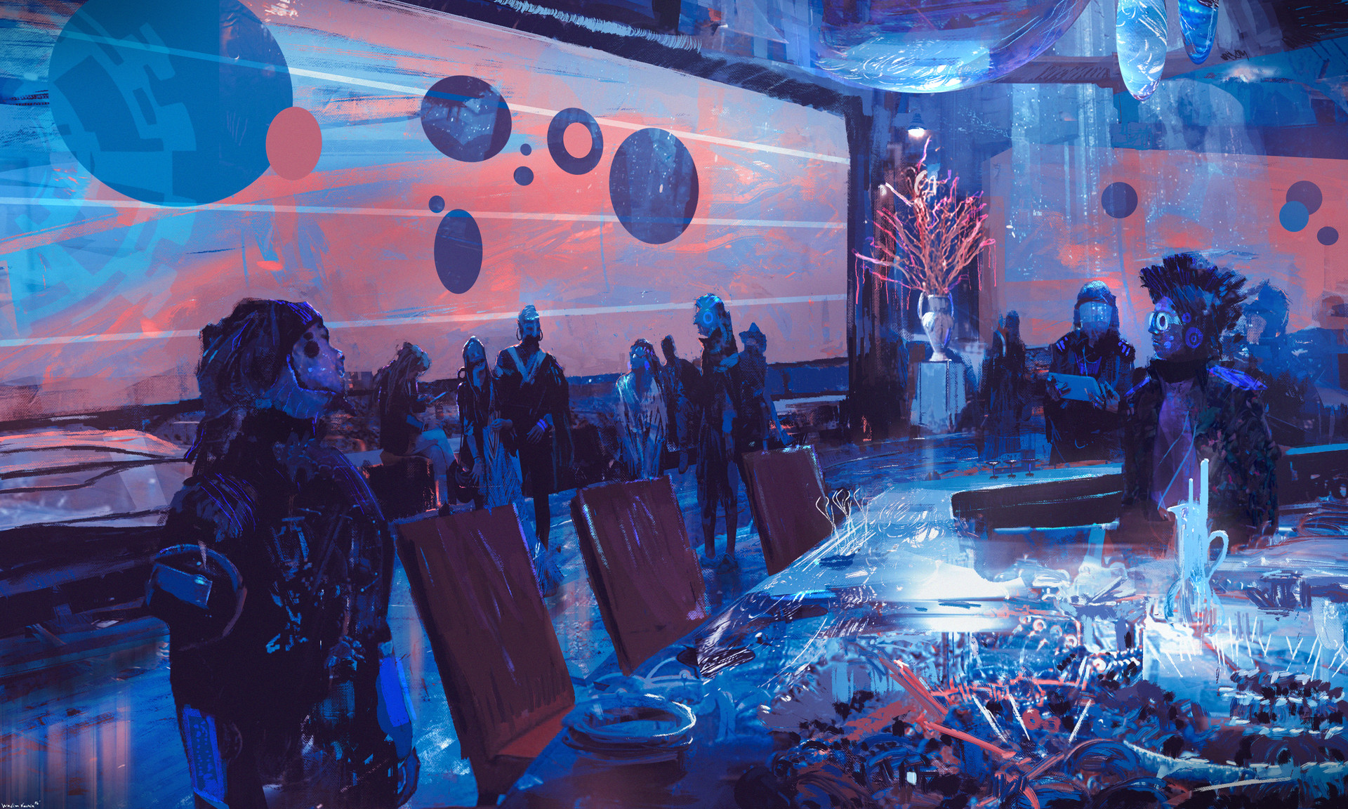 General 1920x1152 cyber cyberpunk bar futuristic painting