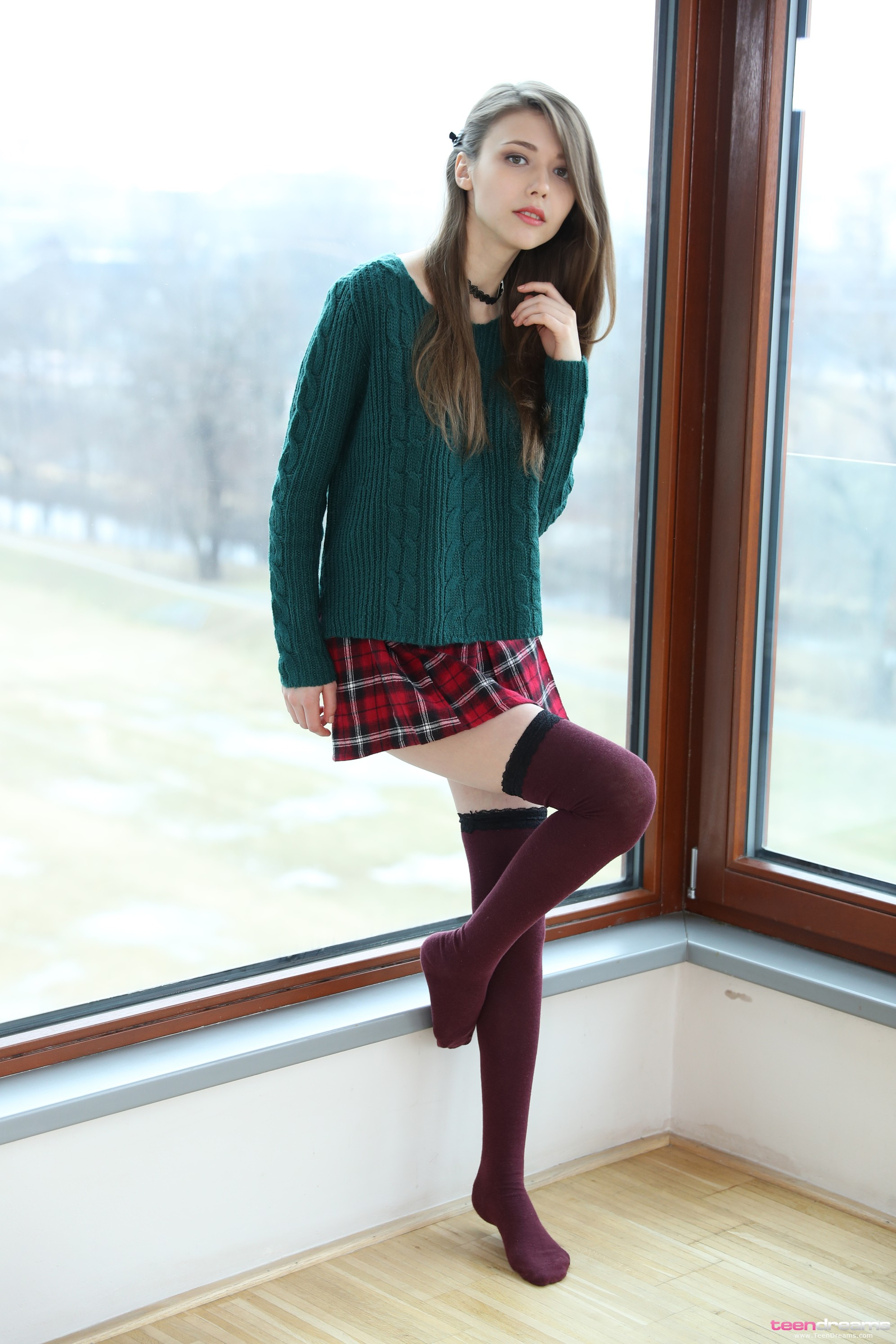 People 1992x2988 Mila Azul model window stockings plaid skirt sweater tiptoe Teendreams pornstar brunette tartan skirt