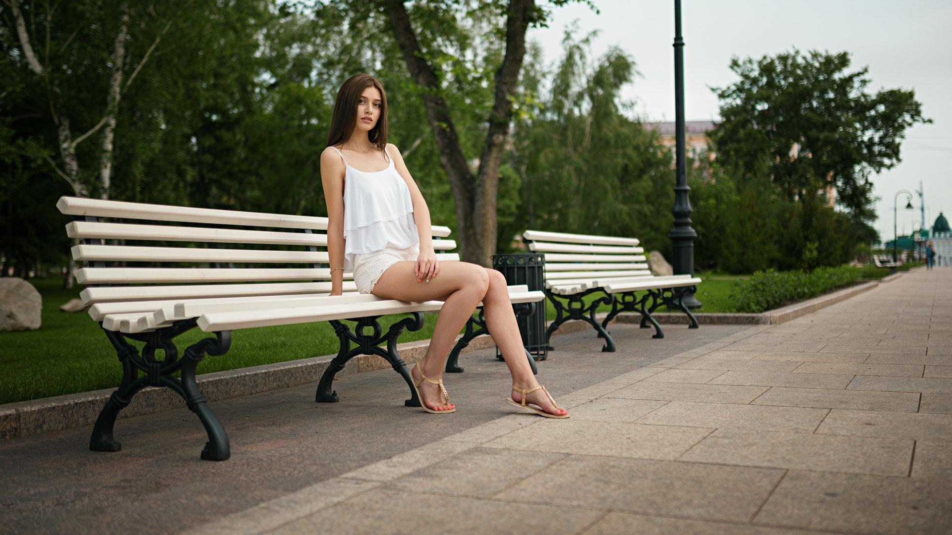 People 1920x1080 women model women outdoors urban Sergey Fat bench park sitting on bench Anastasija Algazina legs
