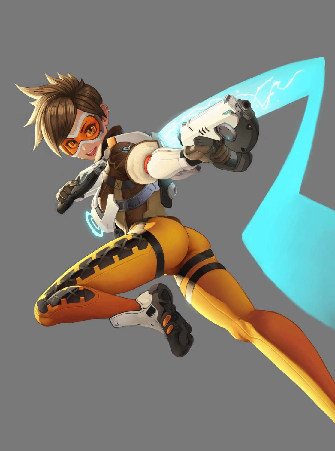 Anime 1116x1500 Overwatch Tracer (Overwatch) bodysuit ass short hair brunette cyan