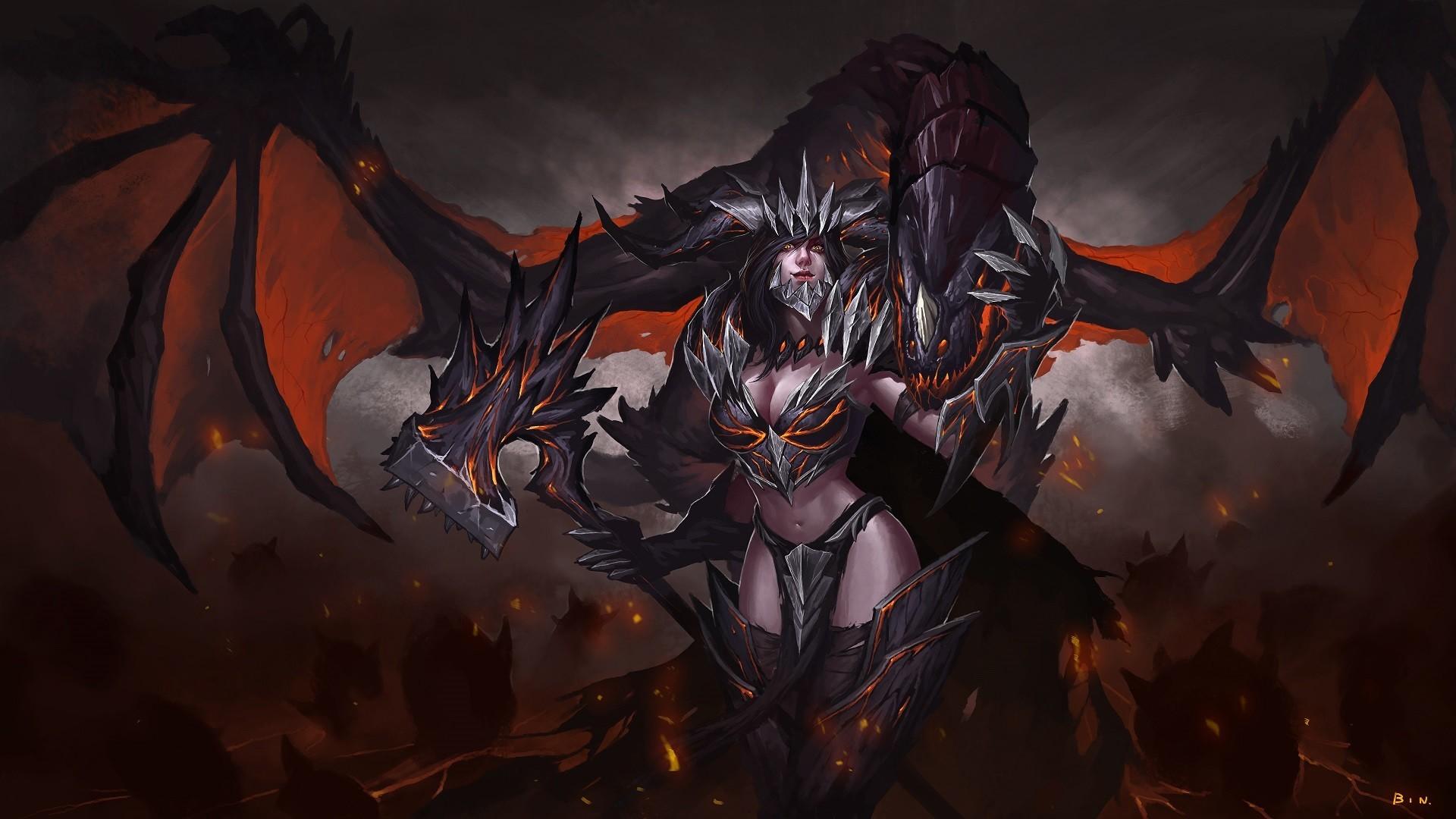 General 1920x1080 dark fantasy fantasy art fantasy girl World of Warcraft: Cataclysm Deathwing rule 63