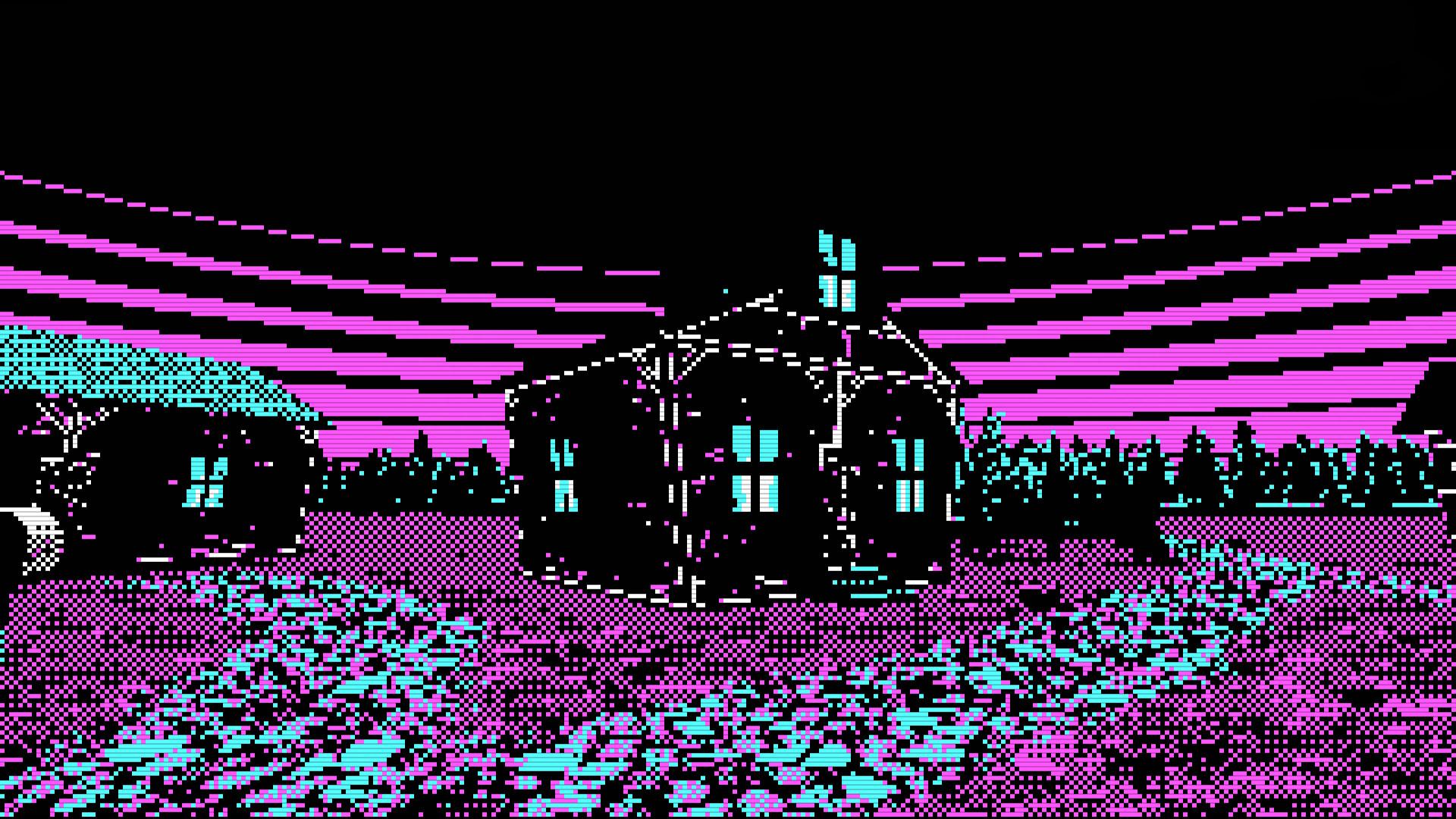 General 1920x1080 vaporwave synthwave Retrowave pixel art pixelated house