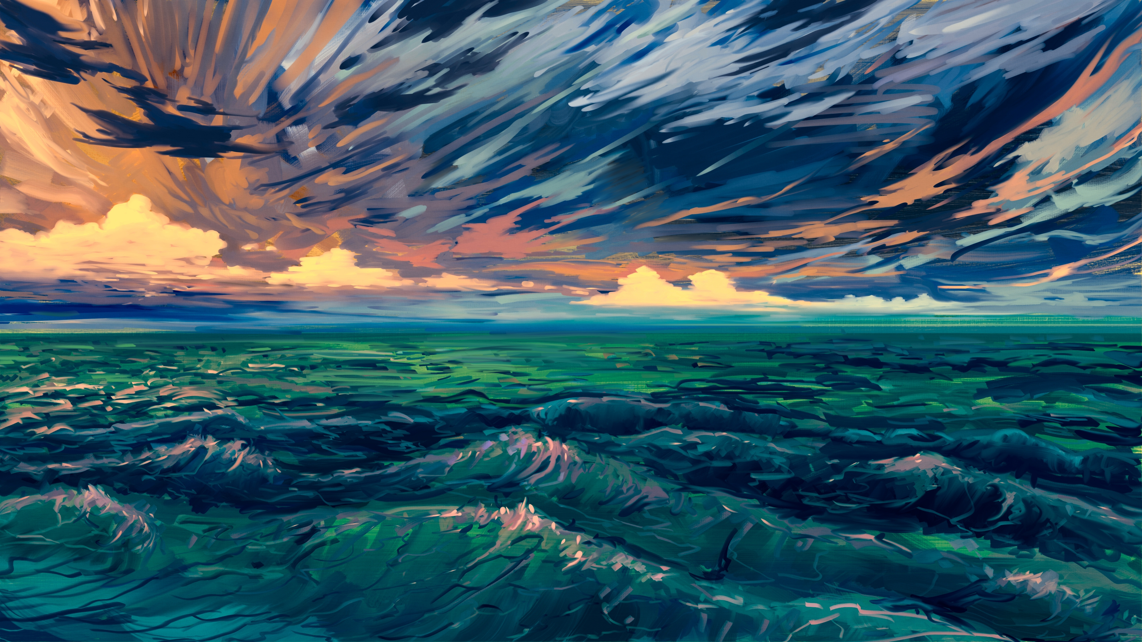 General 4000x2250 digital art digital painting sea Hangmoon sky sunlight water waves clouds nature outdoors DeviantArt