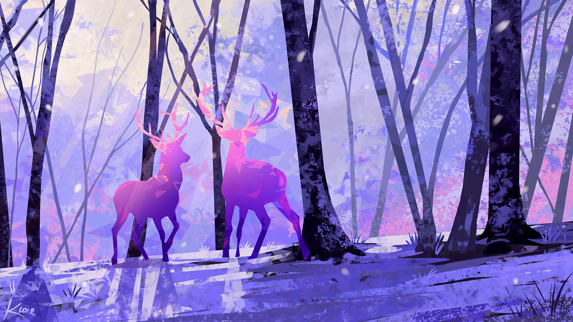 General 1920x1080 Samantha Lee artwork deer horns trees digital painting digital art forest leaves shiny animals tree bark fallen leaves ArtStation