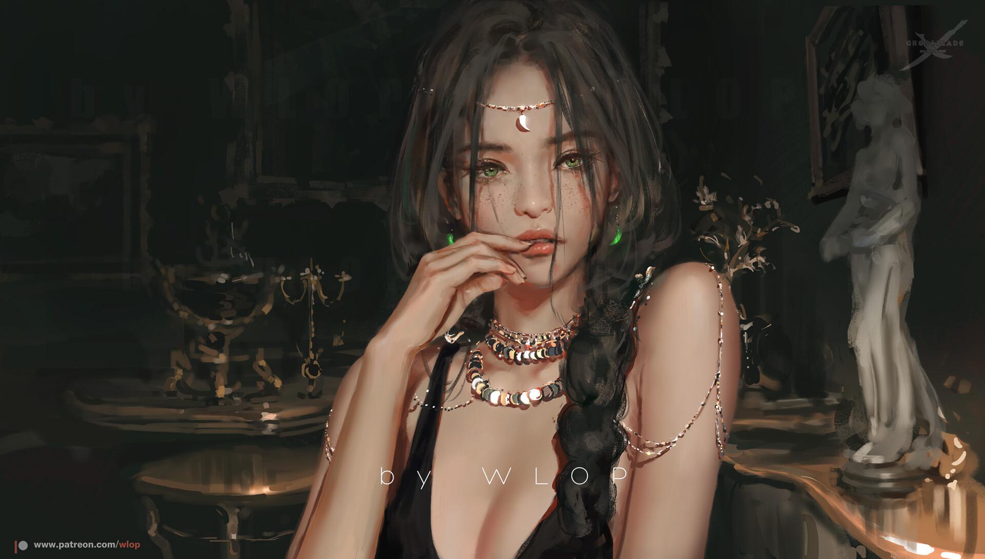 General 1920x1091 artwork women fantasy art fantasy girl women indoors green eyes brunette necklace WLOP Ghostblade