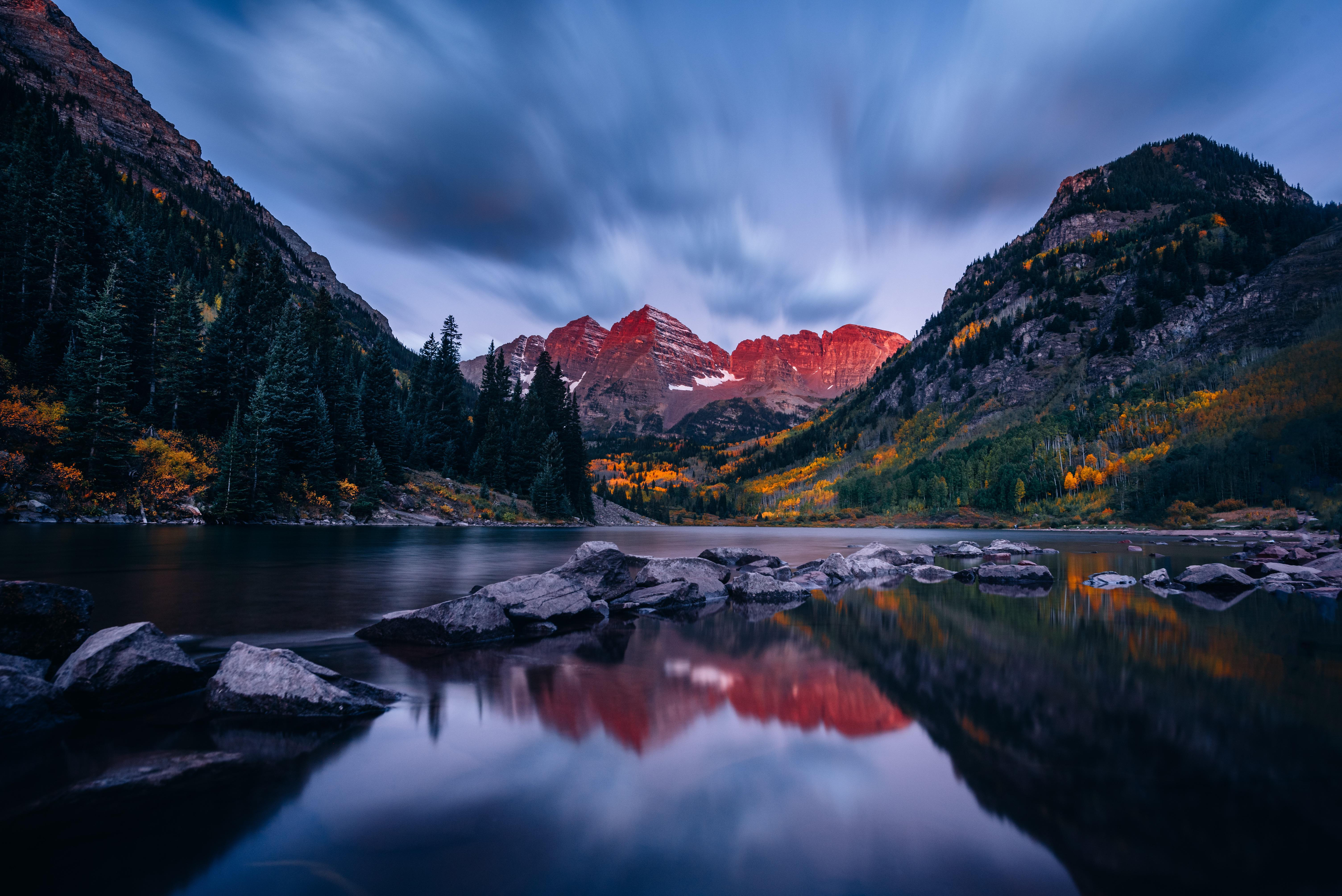 General 6016x4016 landscape mountains lake sky sunset nature pine trees reflection long exposure maroon bells
