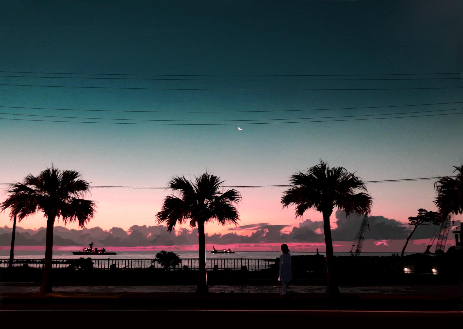 Anime 1878x1336 sunset palm trees Shinoda Mugi