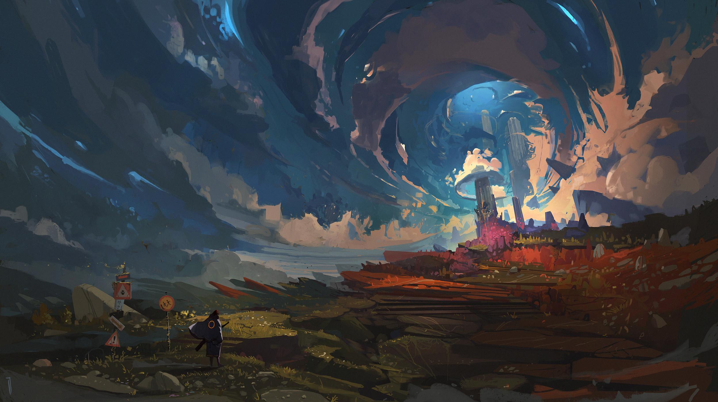 General 2500x1401 Ismail Inceoglu drawing digital art landscape artwork blue light castle ArtStation