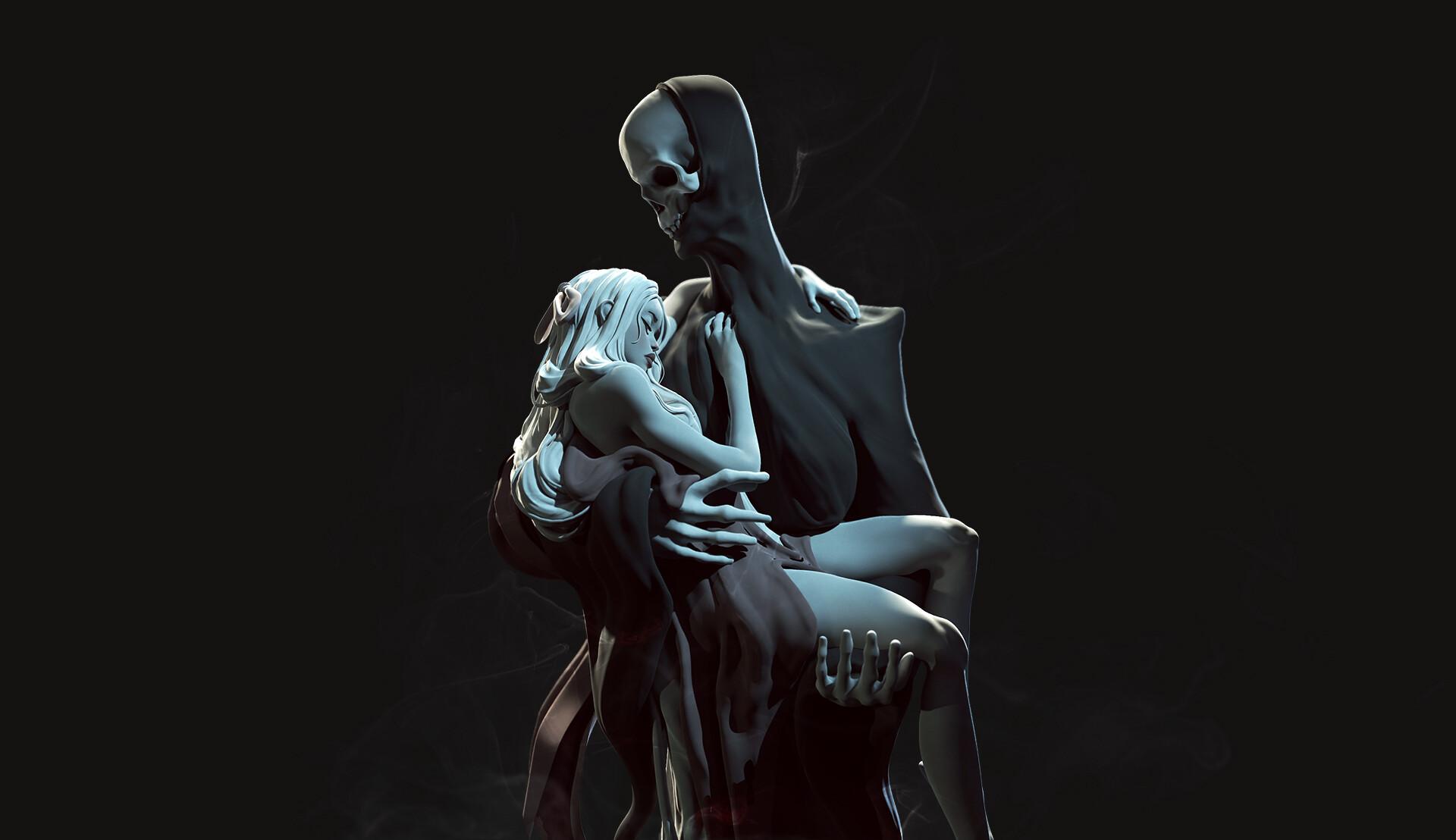 General 1920x1108 Natalia P. Gutiérrez artwork simple background black background Grim Reaper women fantasy art fantasy girl
