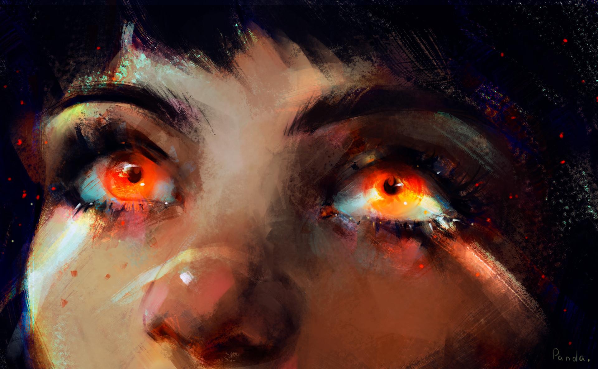 General 1920x1184 Yana Panda women eyes digital art drawing large eyes artwork closeup orange eyes ArtStation