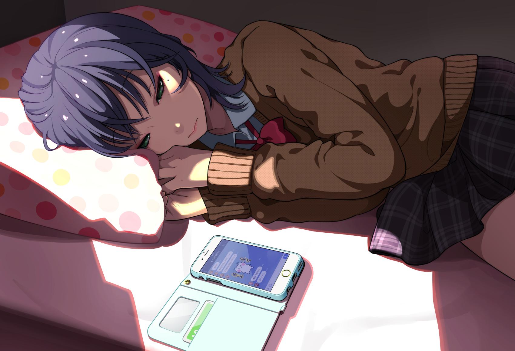 Anime 1700x1160 anime anime girls in bed green eyes smartphone sweater purple hair pillow light effects shoulder length hair school uniform LAM