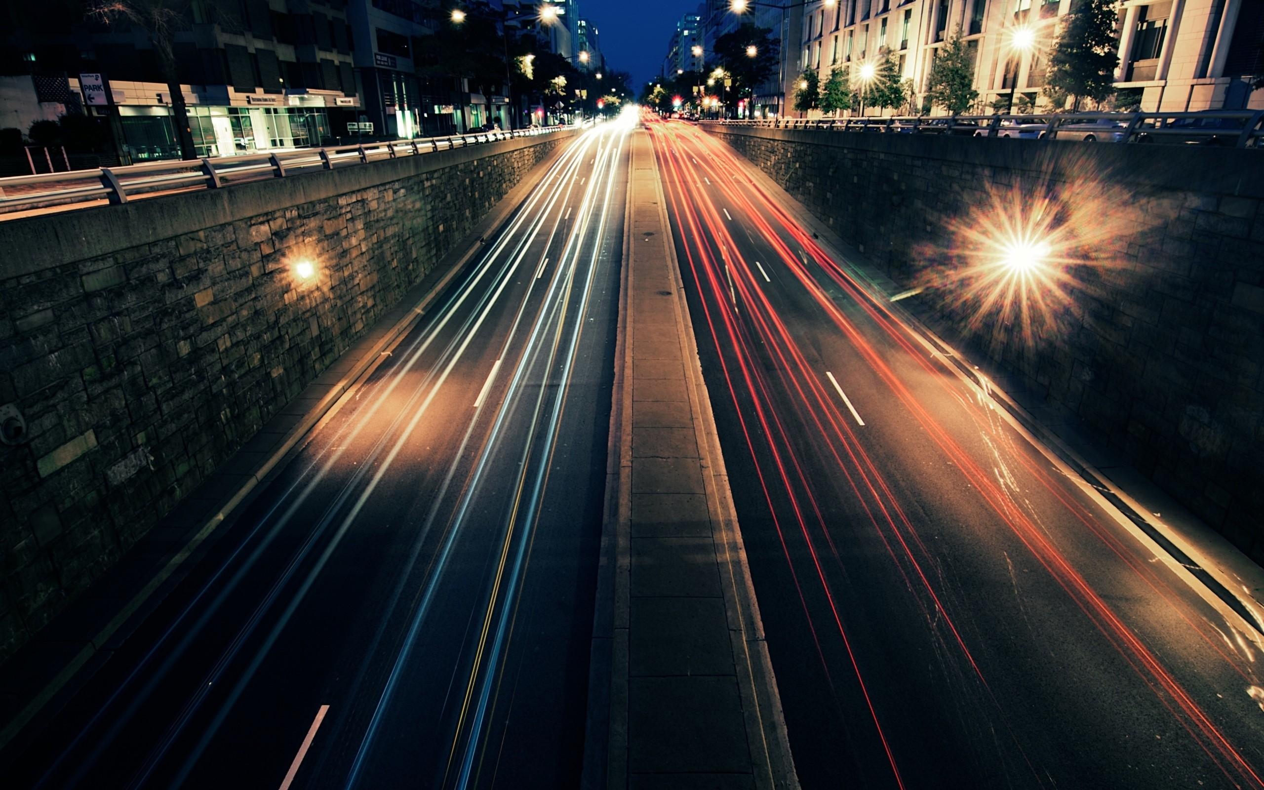 General 2560x1600 urban road city long exposure wall light trails cityscape traffic