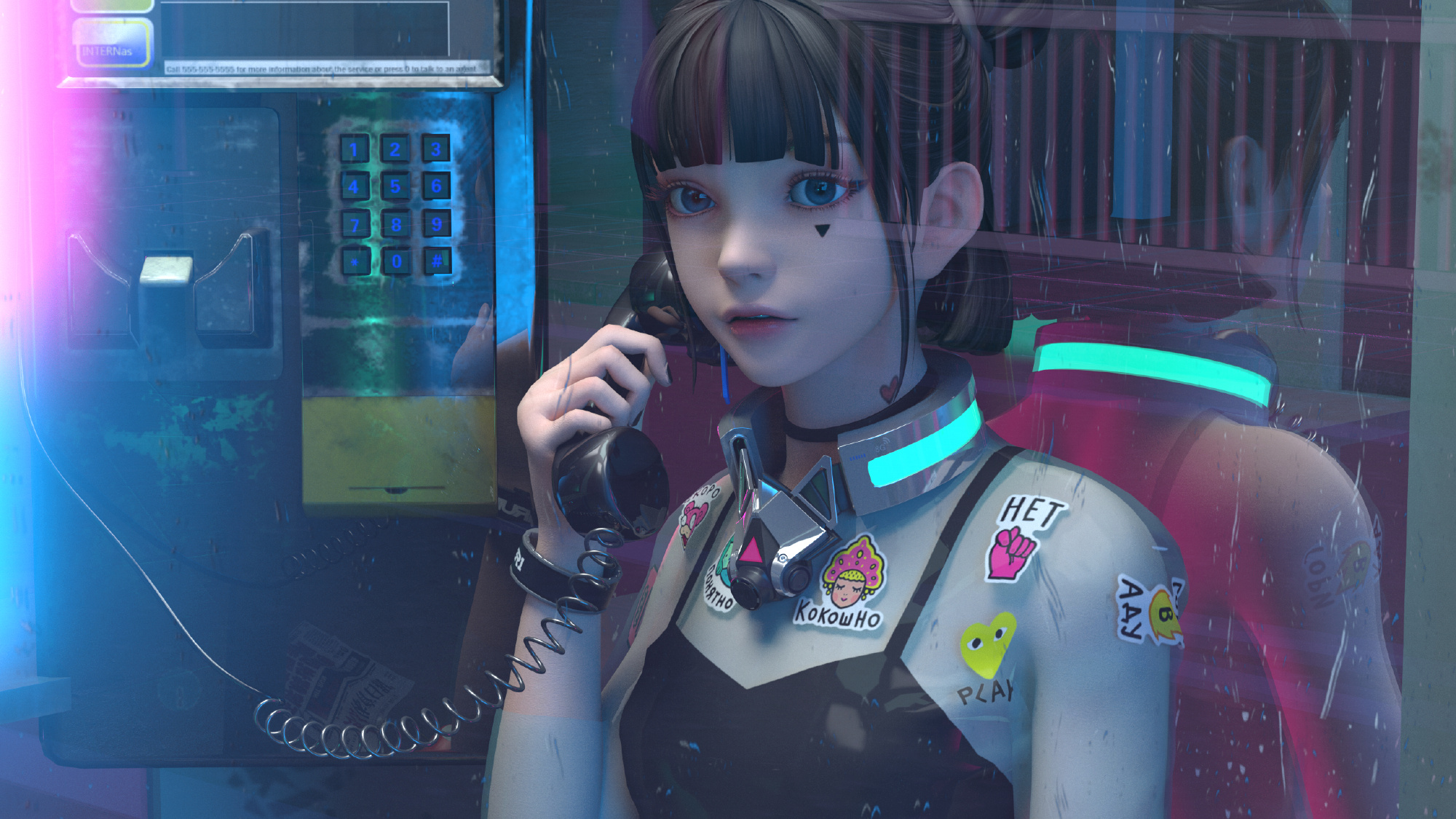 Anime 2000x1125 JYANME anime girls anime telephone booth black hair digital art 3D CGI render women reflection