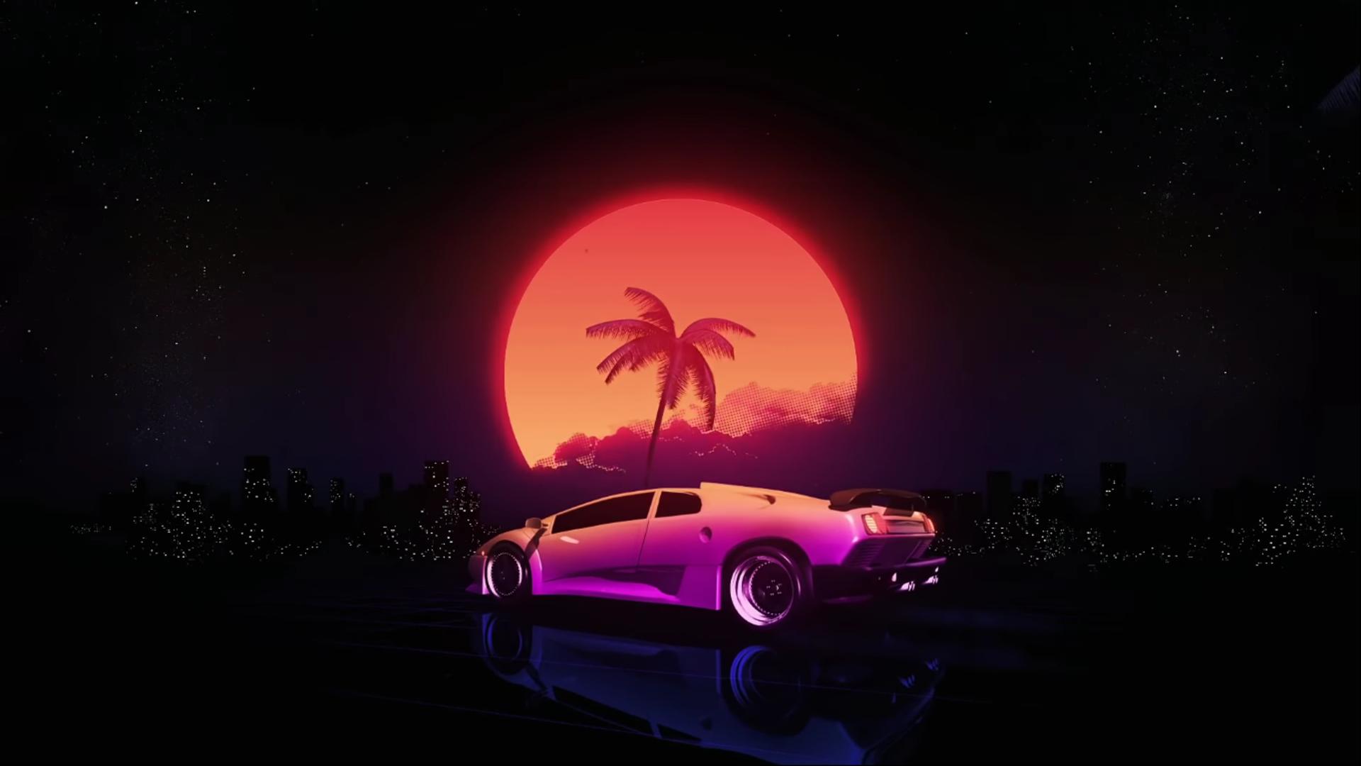 General 1920x1080 vaporwave synthwave Retrowave Lamborghini Diablo