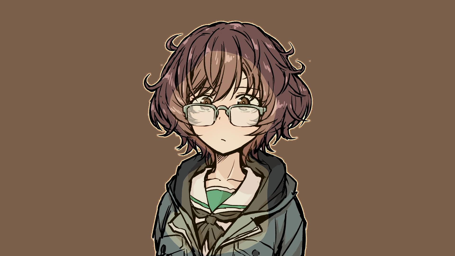 Anime 1920x1080 Akiyama Yukari Girls und Panzer school uniform glasses brown eyes brunette face women