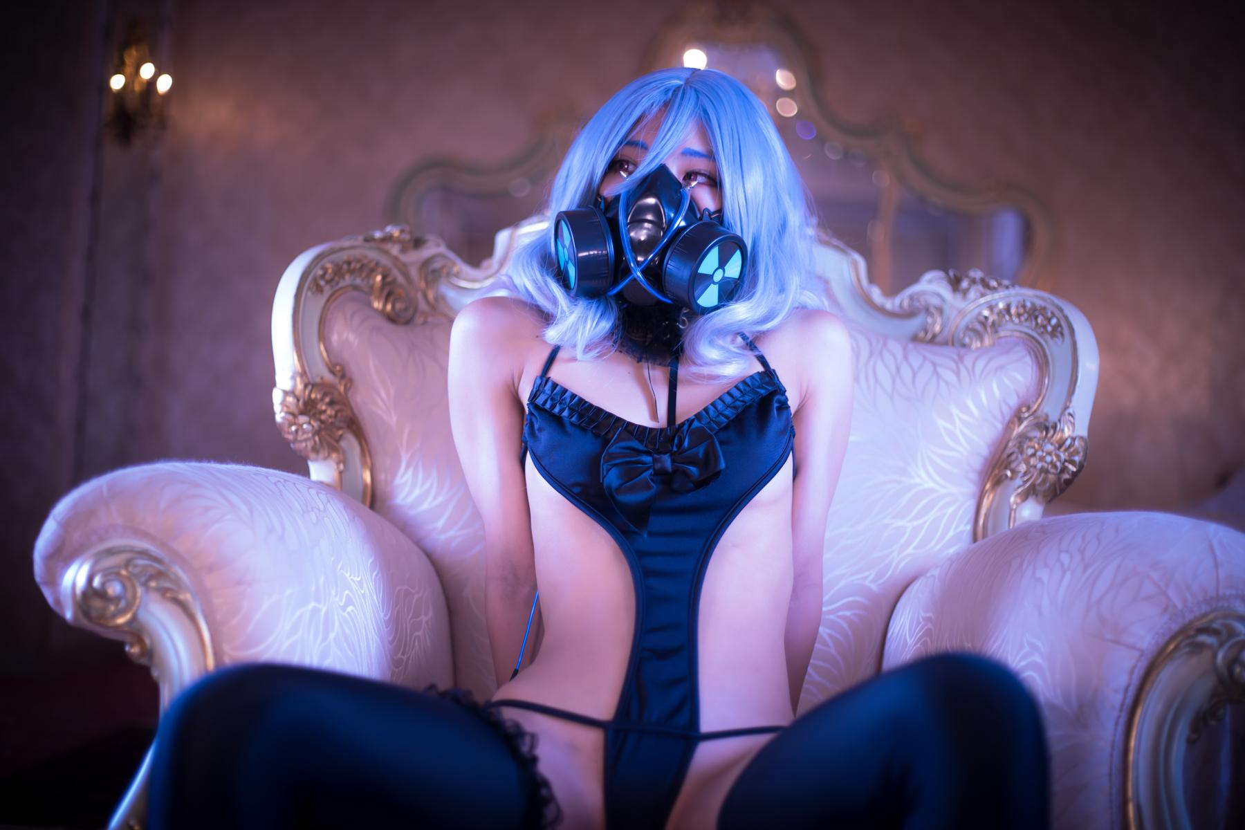 People 1800x1200 women model Asian Shitai-chan Japanese Japanese women gas masks blue hair short hair women indoors