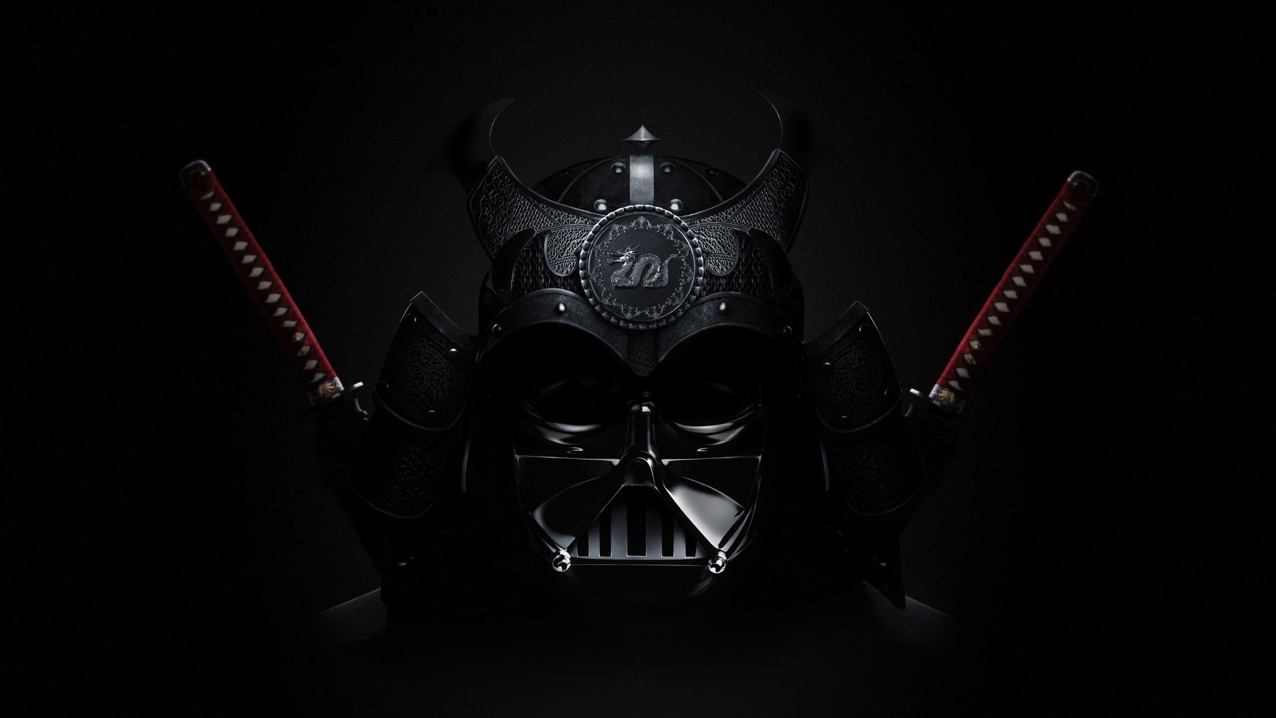 General 2560x1440 Darth Vader samurai Asian Star Wars digital art artwork mask sword katana Star Wars Villains Sith crossover