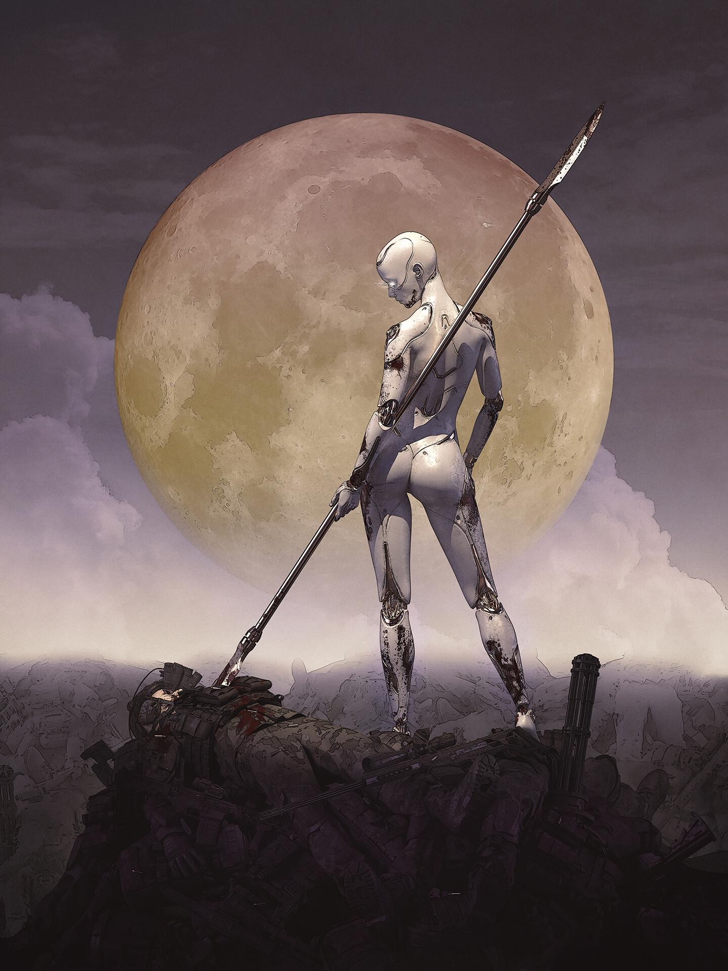 General 1440x1920 artwork standing ass ArtStation blood corpse weapon machine robot Moon spear cyborg
