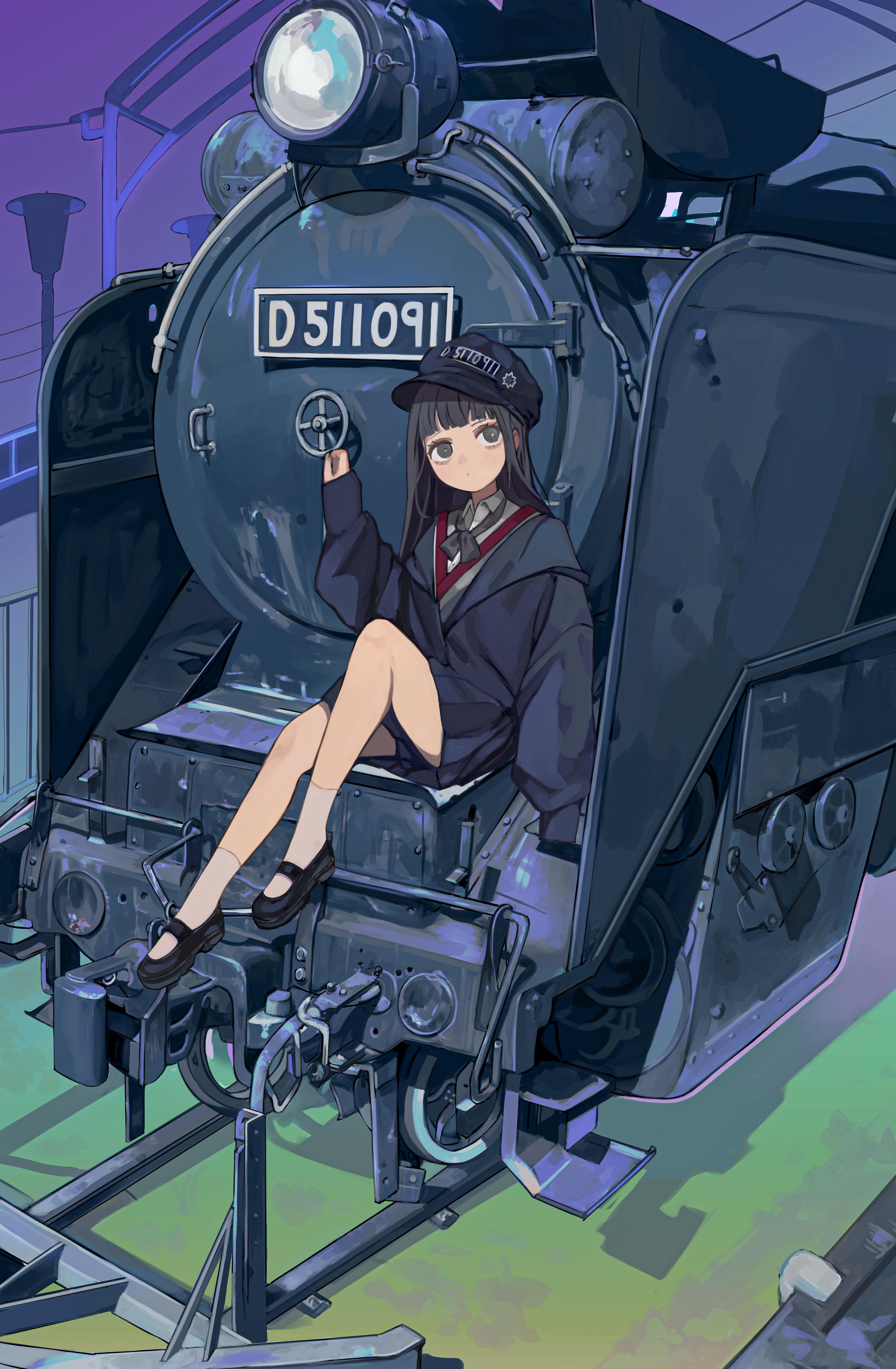 Anime 2706x4134 bangs black eyes black hair blunt bangs long sleeves ribbon train locomotive Tokiwata Soul