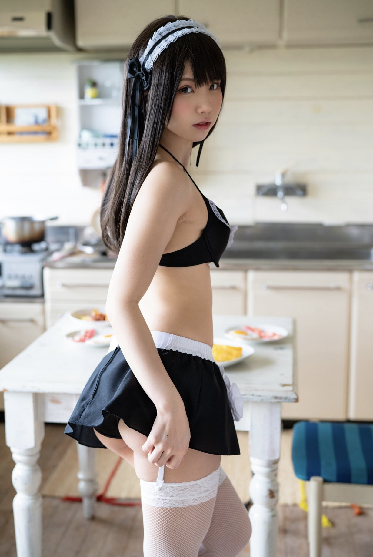 People 1231x1837 Japanese women women Asian lingerie fishnet stockings garter belt garter straps maid bikini maid maid outfit