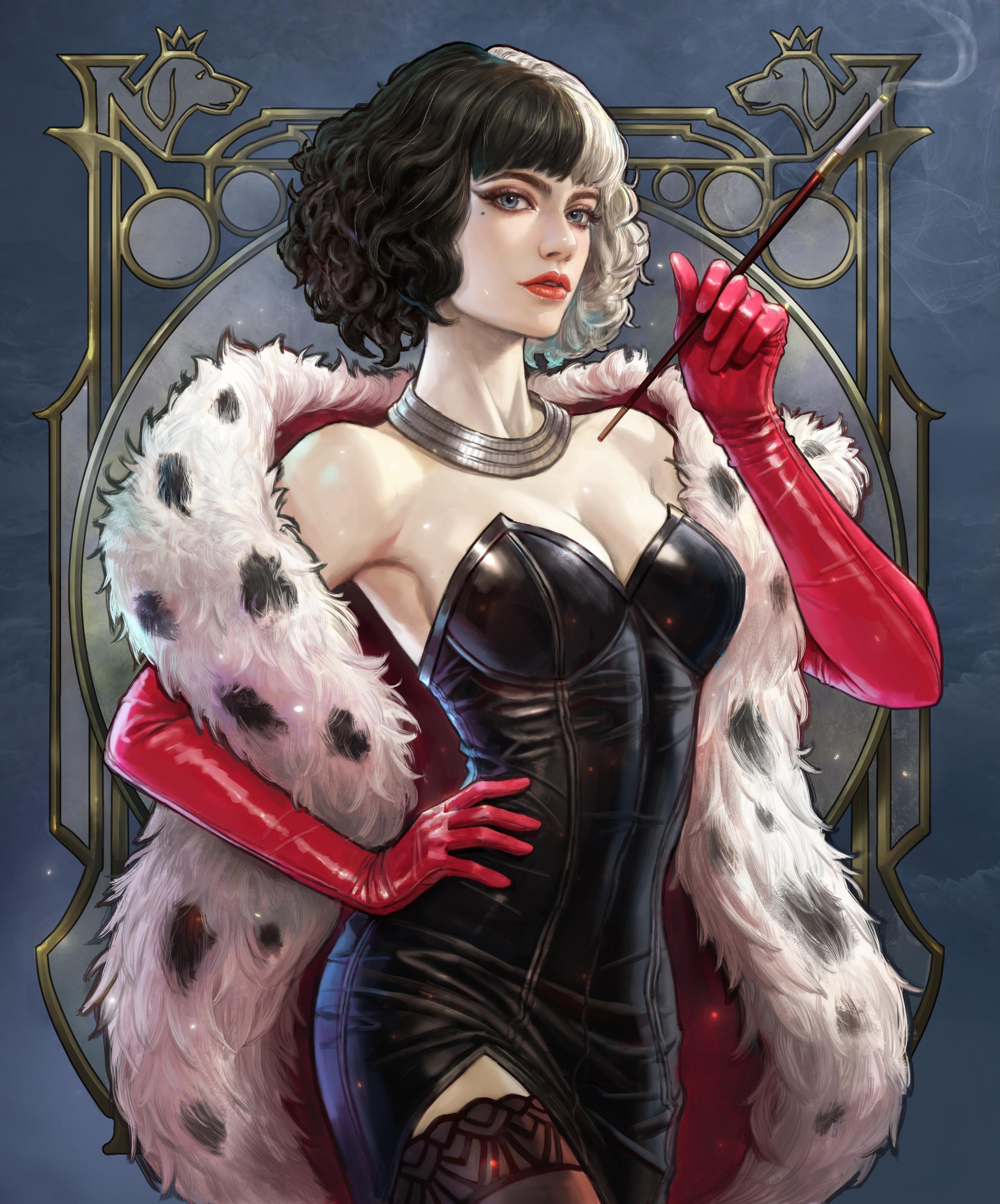 General 2908x3500 Kim Sung Hwan drawing Cruella de Vil women black clothing dress fur frame elbow gloves Emma Stone