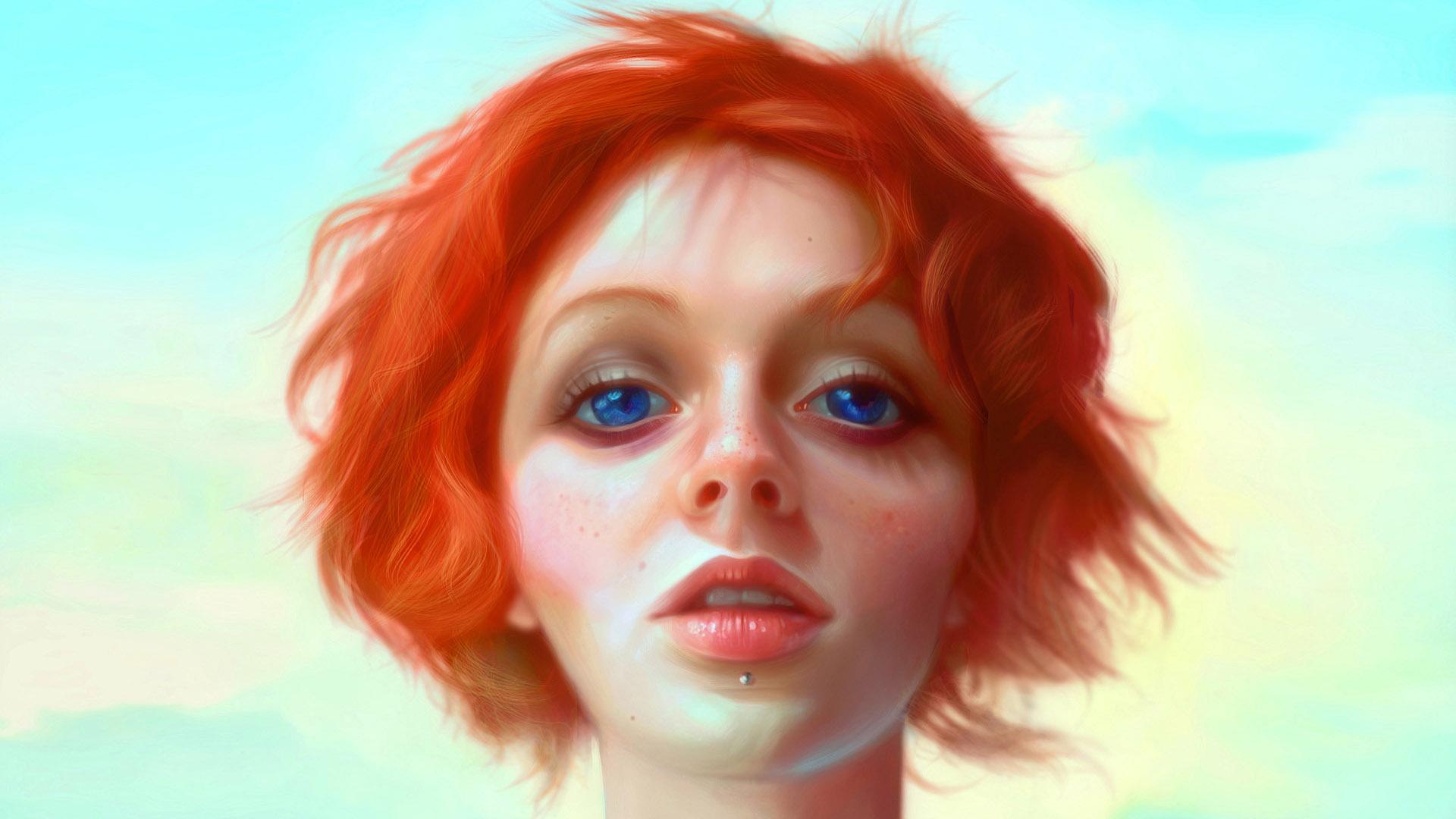 General 1920x1080 painting artwork women redhead blue eyes portrait