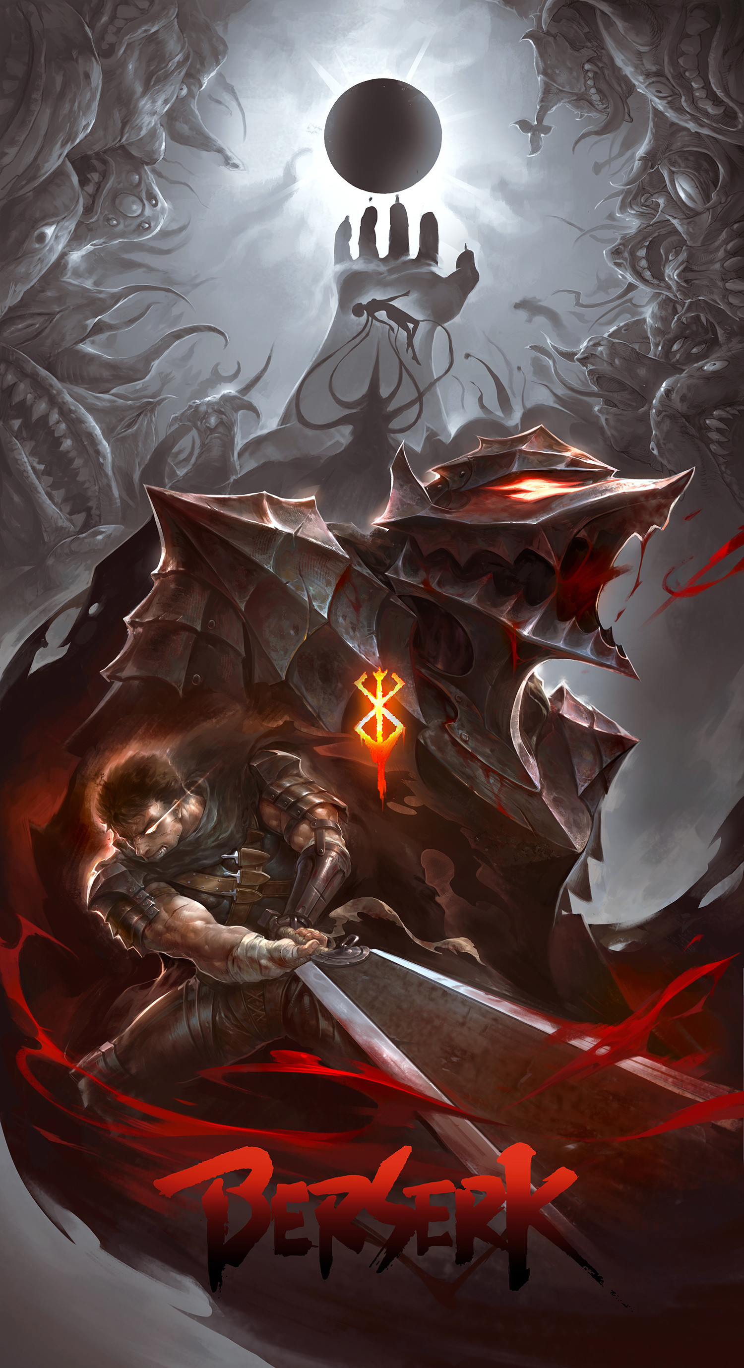 Anime 1500x2758 Berserk anime boys night eclipse  short hair 2D sword berserk armor open mouth fantasy armor black hair creature armor Guts Black Swordsman Casca vertical fan art blood anime