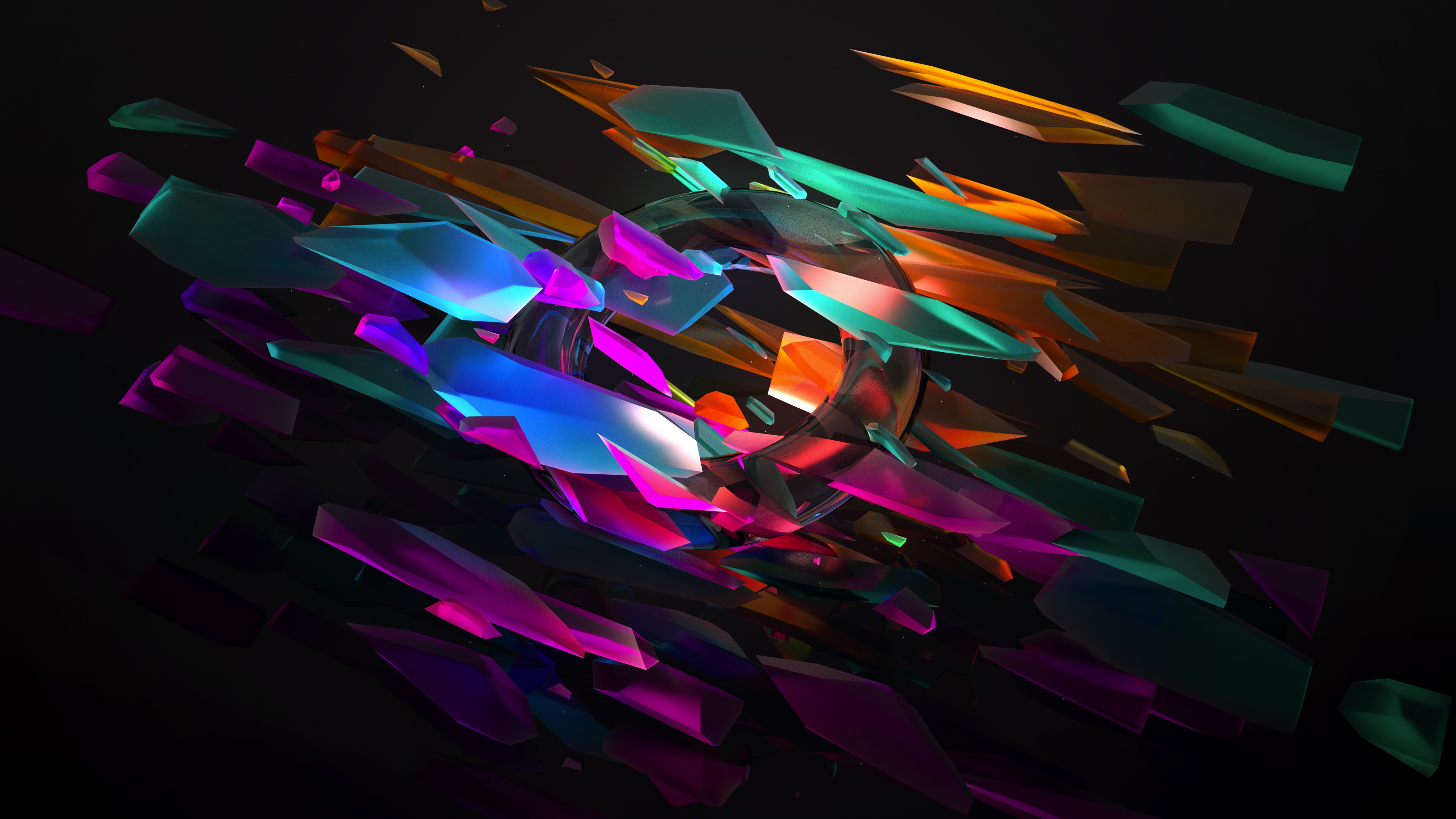 General 3840x2160 broken glass digital art glass Justin Maller black background 3D colorful